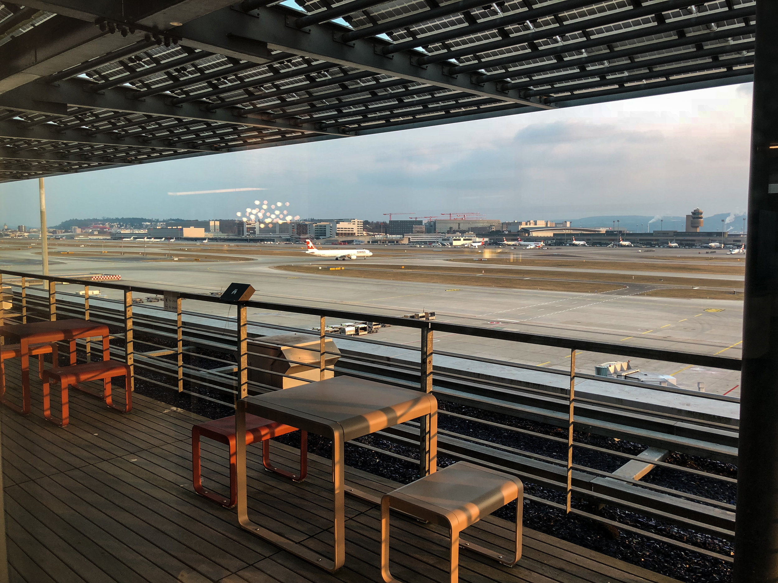 Swiss Business Class Lounge Viewing Deck in Zurich