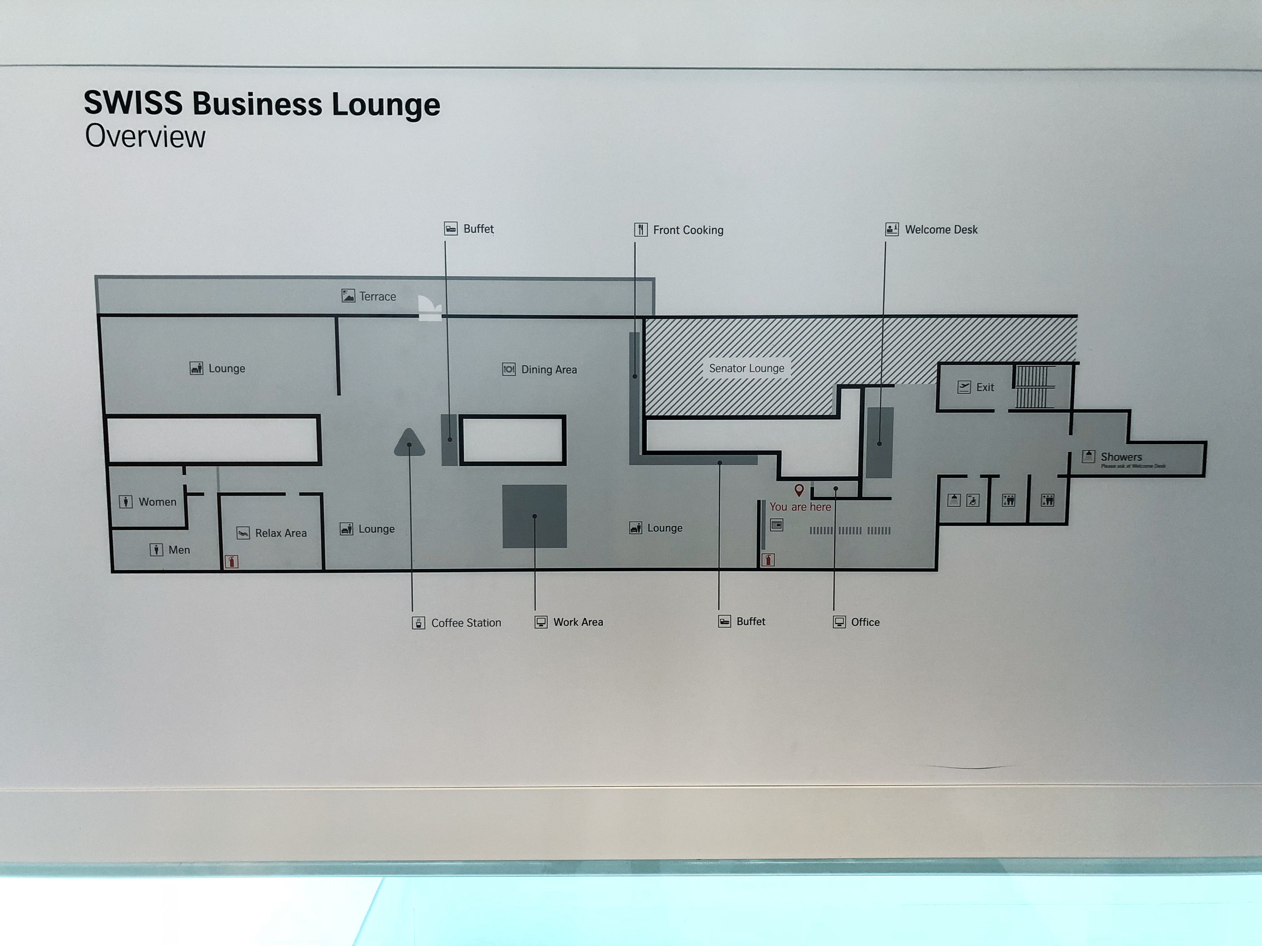 Swiss Business Class Lounge Layout in Zurich