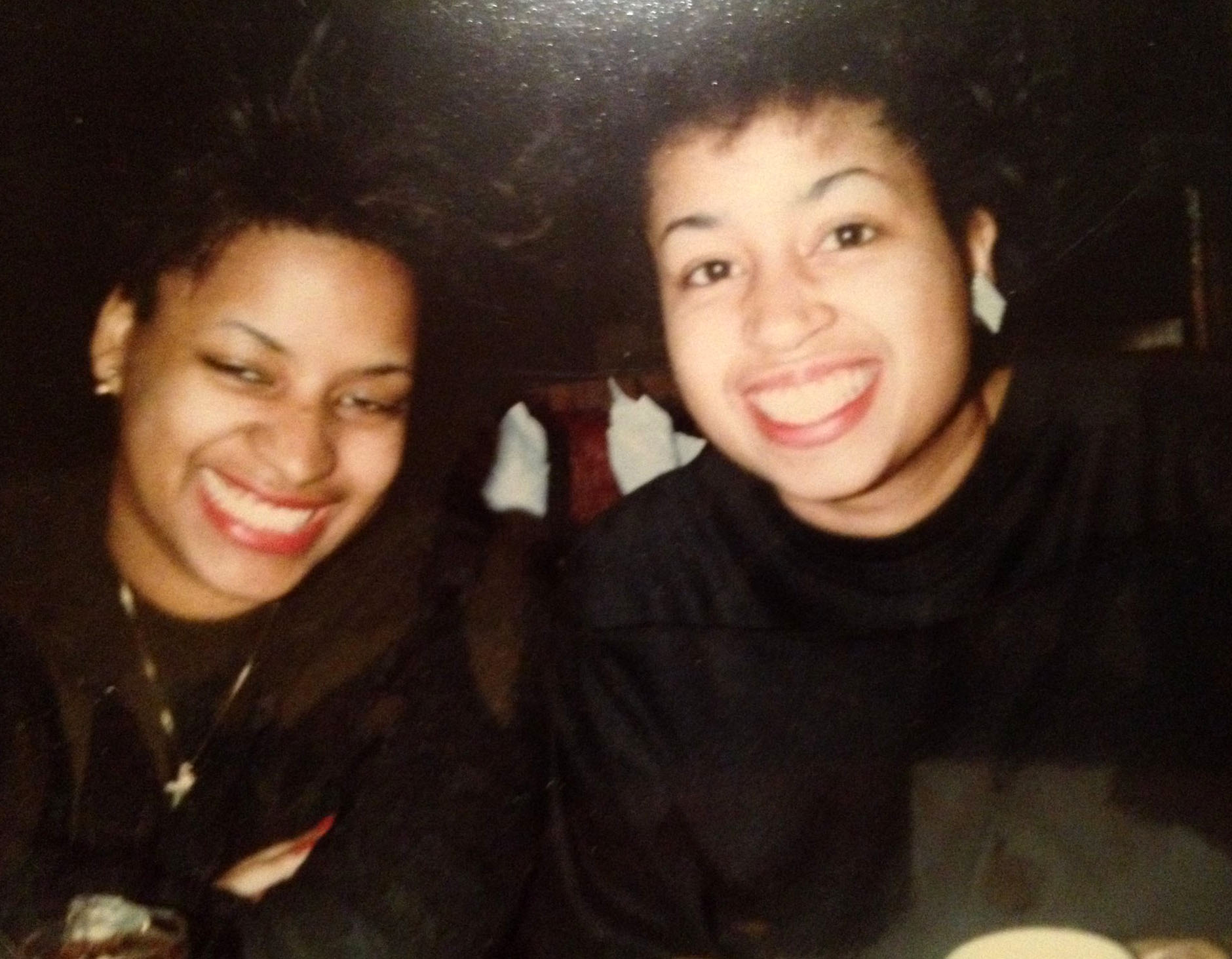Yvonne, left, with her late sister Margie, shortly before she was killed in a car accident.