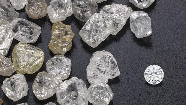 Photo of rough diamonds. {Image from GIA.edu}