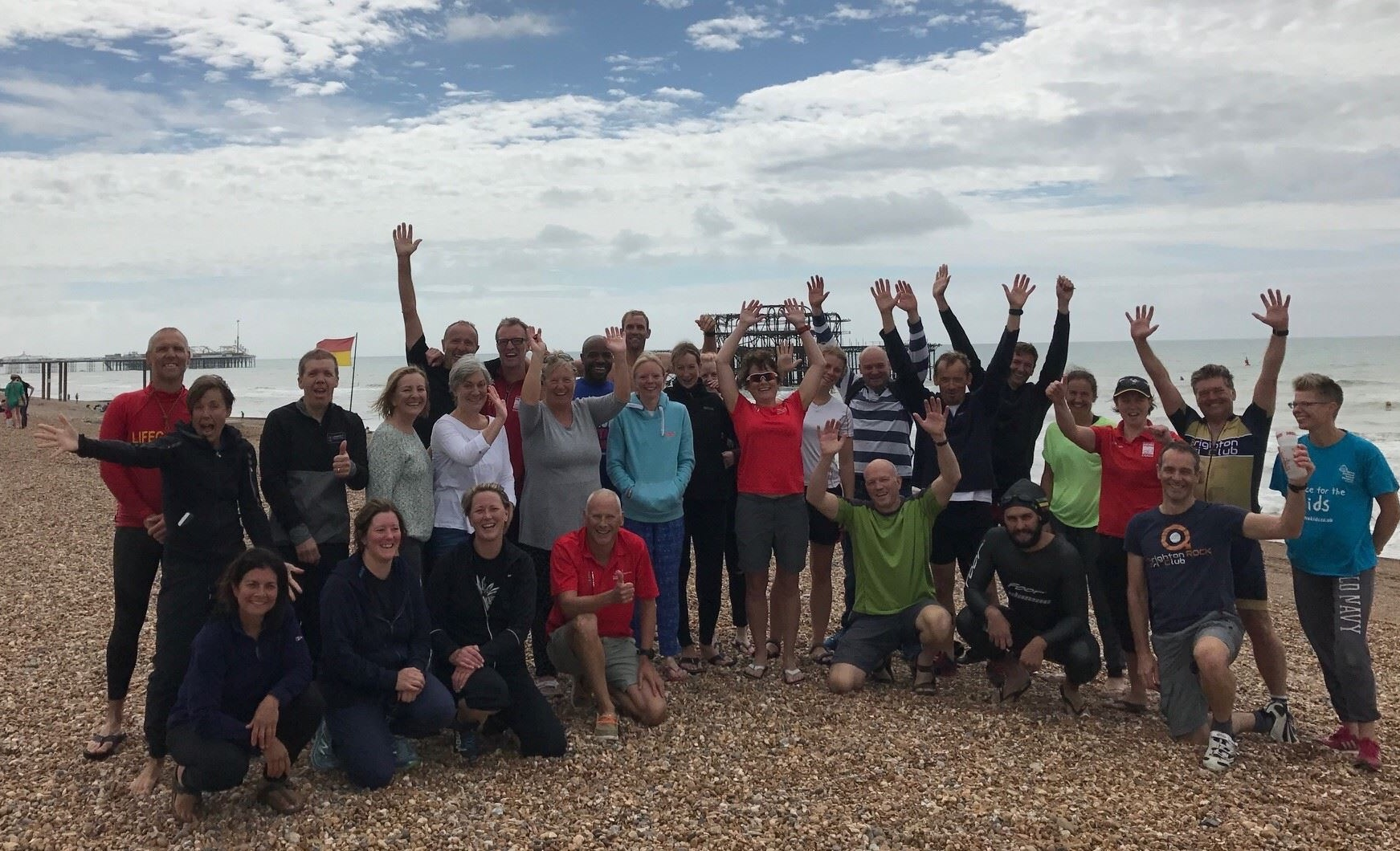 Banking and celebrating a one to many, one off Open Water Swim session with tri novices, with Brighton Tri Club