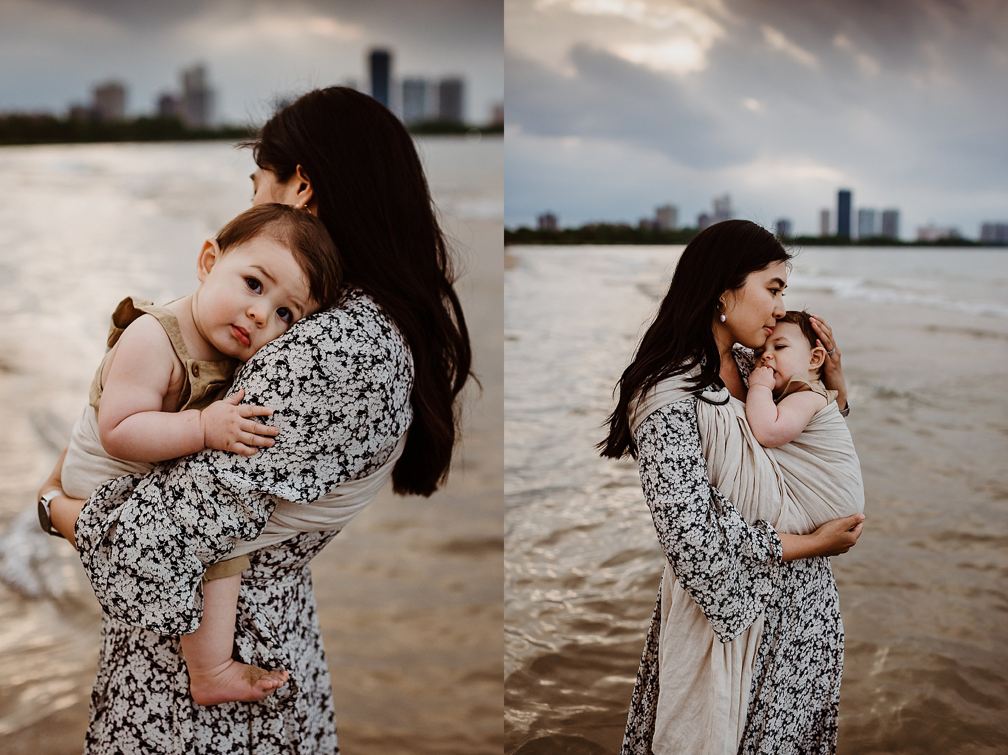 sunset beach session mom and baby chicago.jpg