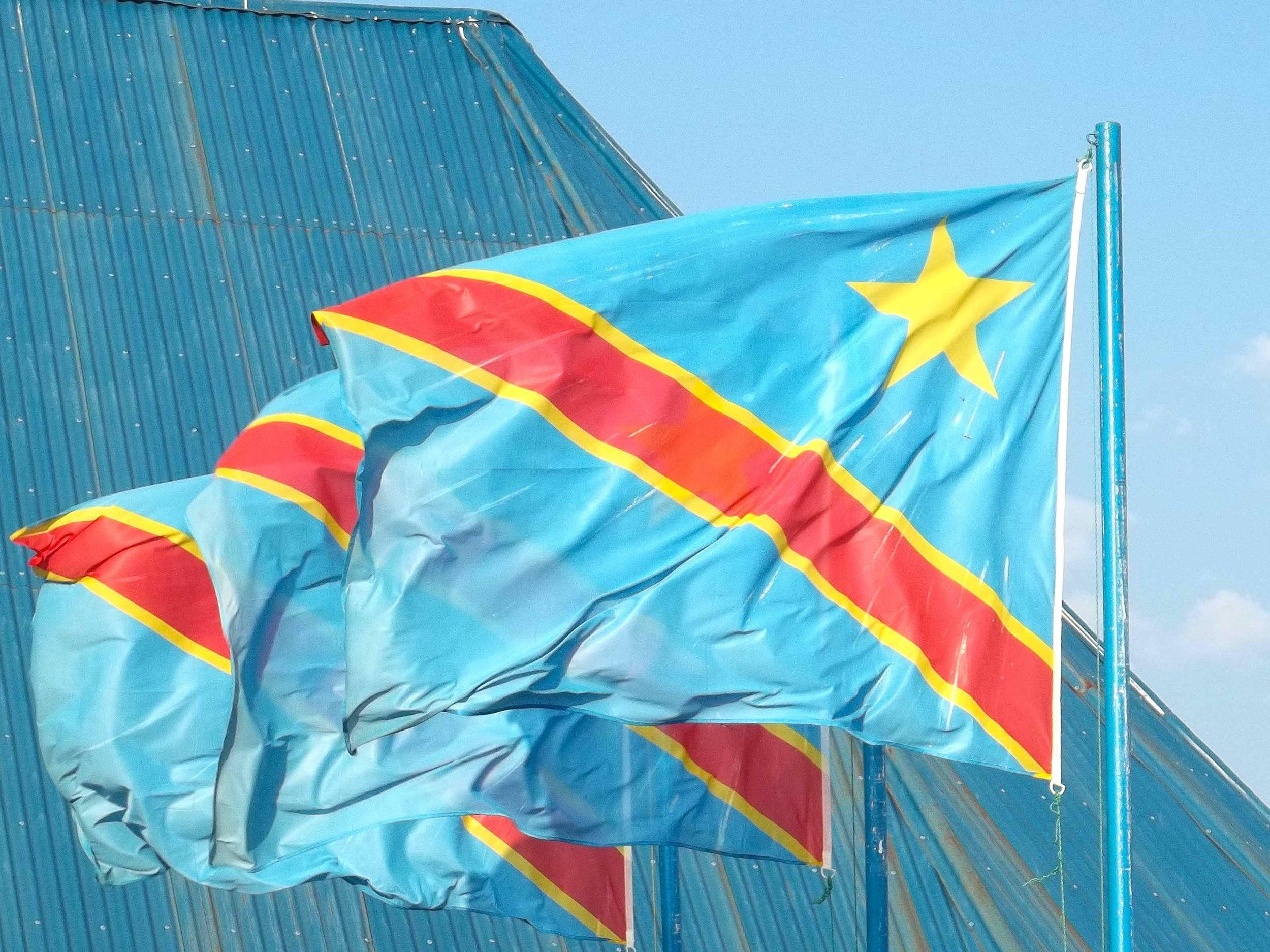 Congolese flags fly at the border