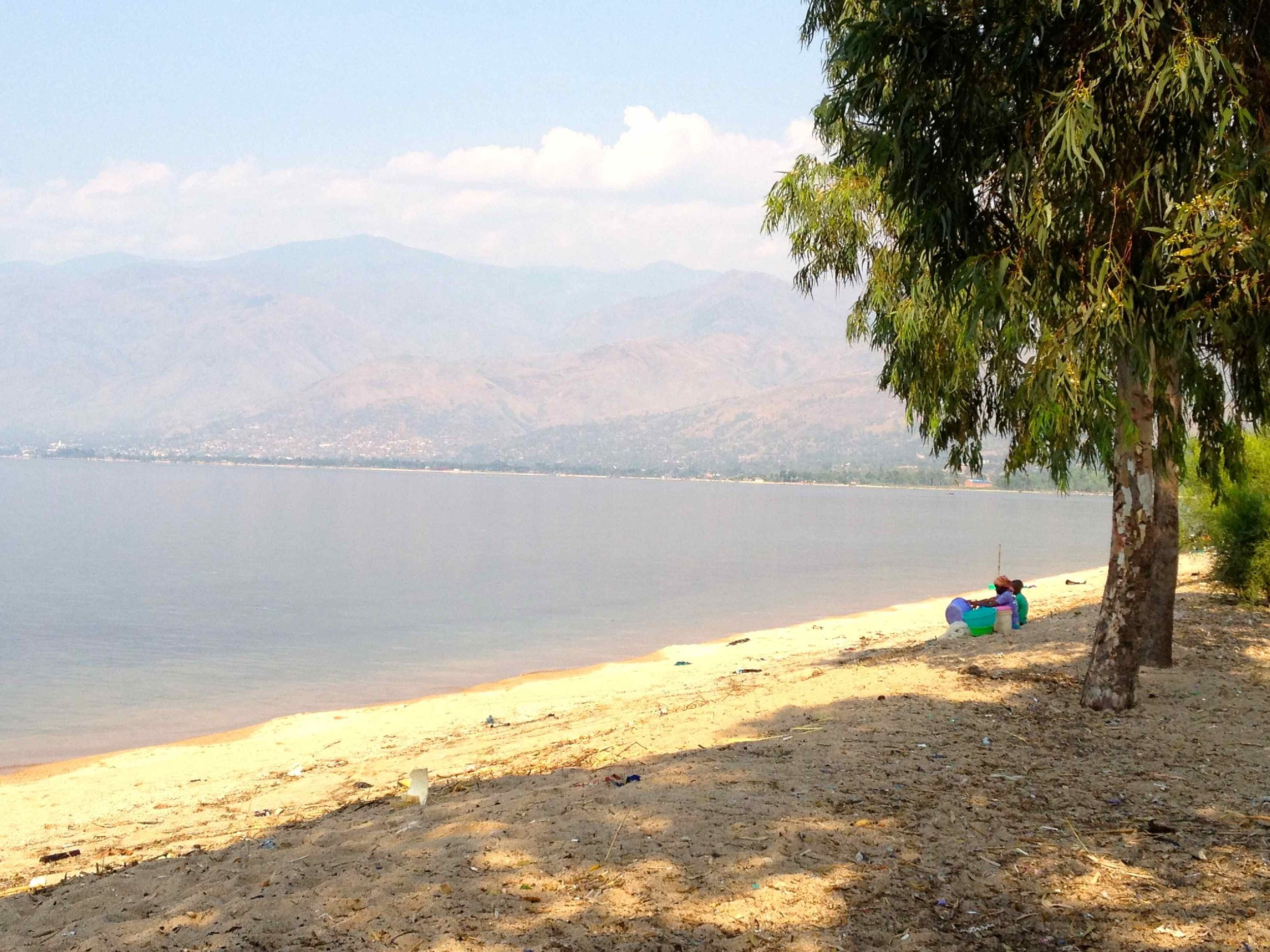The view of Uvira across Lake Tanganyika from our hotel (Villa Illac)