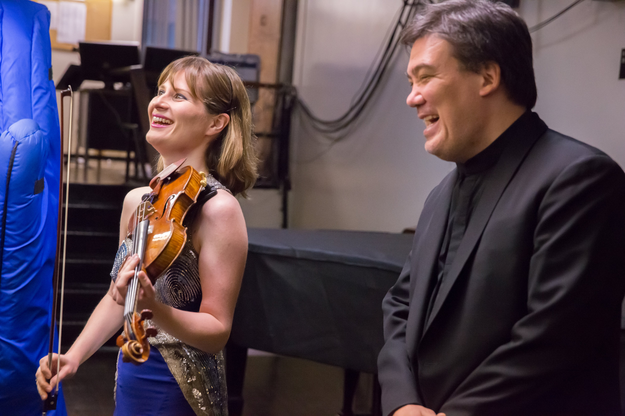 During her residency (2014–15) violinist Lisa Batiashvili gave an acclaimed recital and performed concertos by Brahms and Barber, as well as a program that coupled J.S. Bach's Concerto for Violin and Oboe with the U.S. Premiere–New York Philharmonic Co-Commission for the same instruments, written by Thierry Escaich for her and her husband, oboist François Leleux.