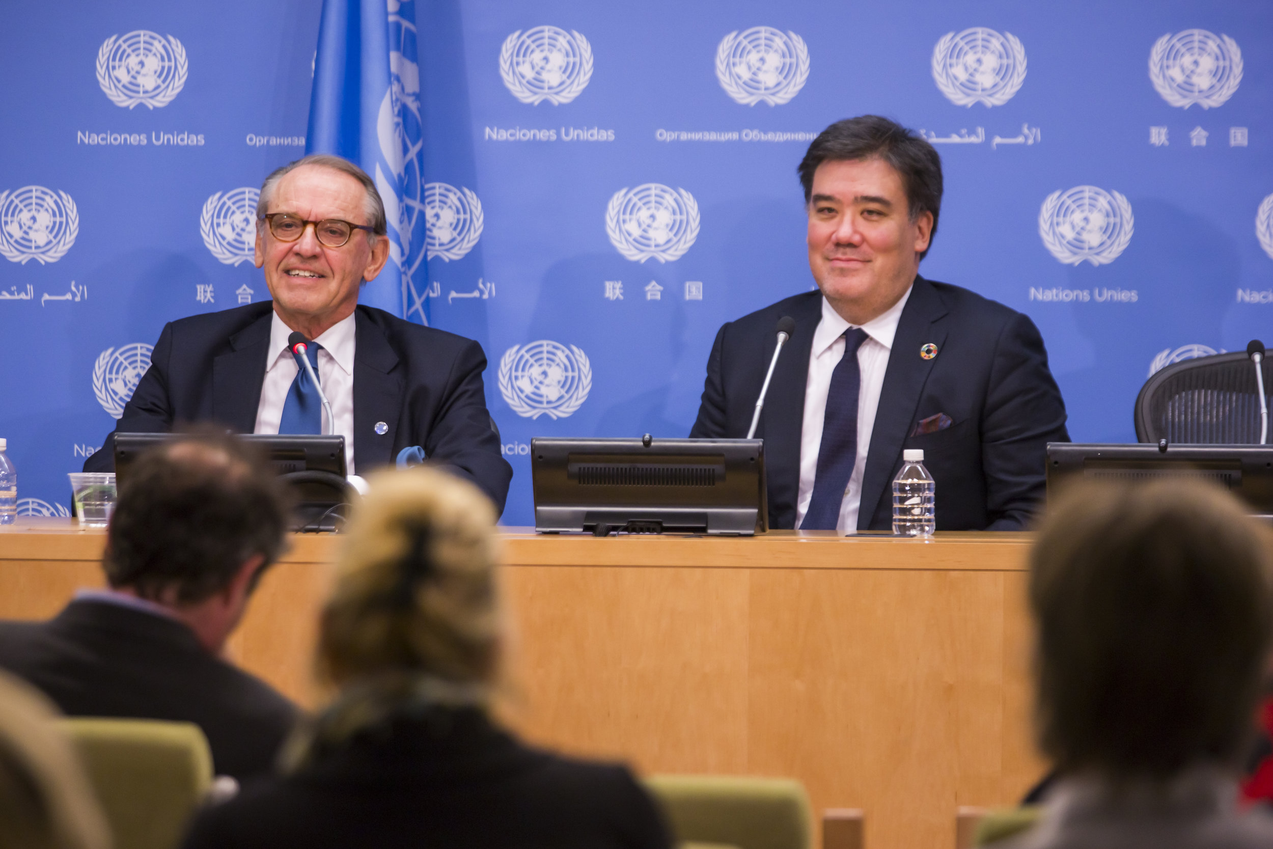 """In December 2016 Alan Gilbert conducted the Philharmonic on the floor of the United Nations General Assembly to celebrate the tenure of Secretary-General Ban Ki-moon and the transition of leadership to António Guterres, who would take office on January 1, 2017. At the U.N.'s daily press briefing that day the Music Director and then Deputy Secretary-General Jan Eliasson discussed the new initiative, which Gilbert would lead following his Philharmonic tenure, in which musicians from around the world will come together to perform music at critical times in support of peace, development, and human rights. """"The state of the world demands a response, and we are working fervently to realize this project,"""" Alan Gilbert later said at the concert."""