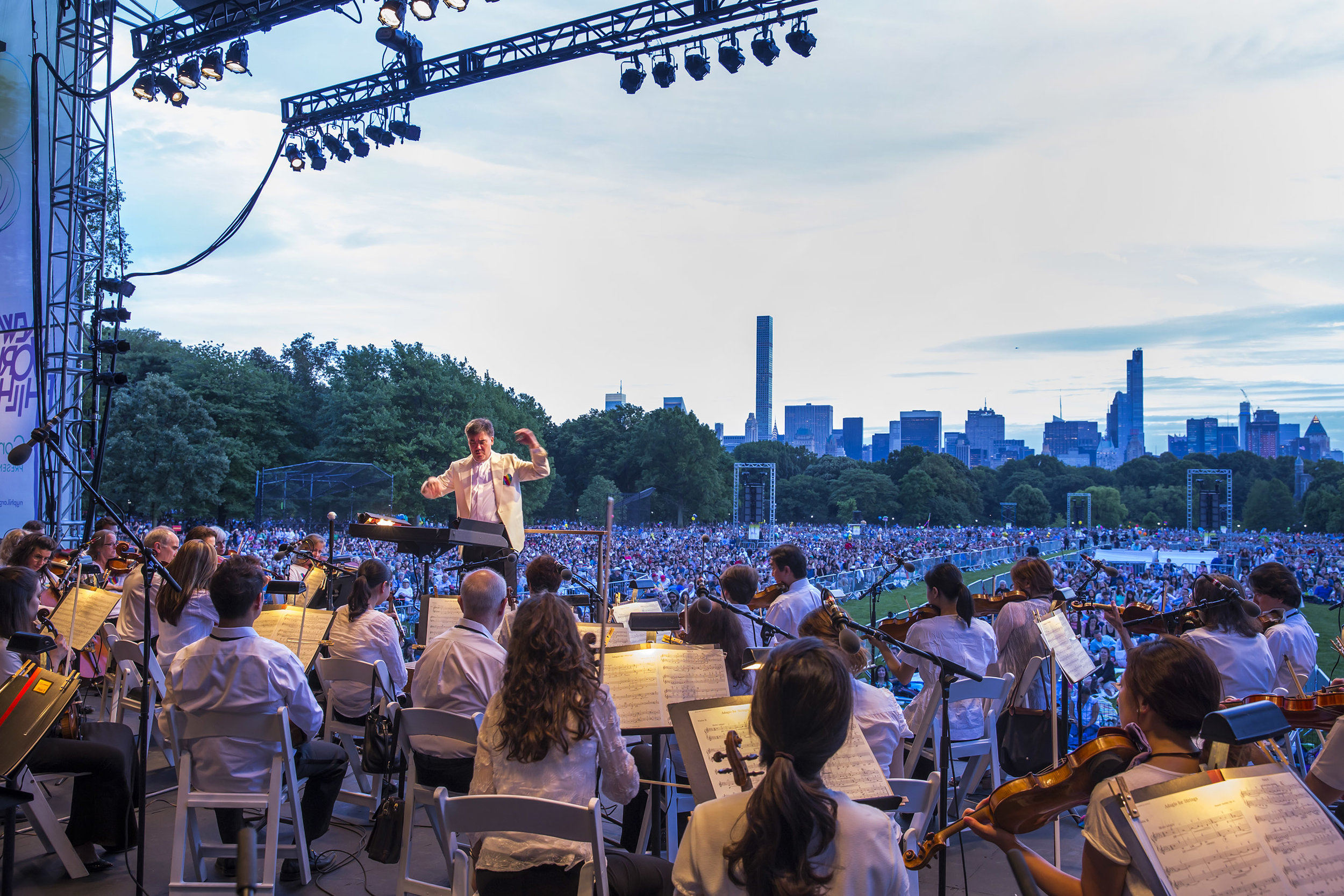 Although the Concerts in the Parks are joyous occasions, the 2016 series began with a sober moment when Alan Gilbert led a performance of Barber's  Adagio for Strings  dedicated to the victims of the Orlando tragedy and their families.  Watch the performance .