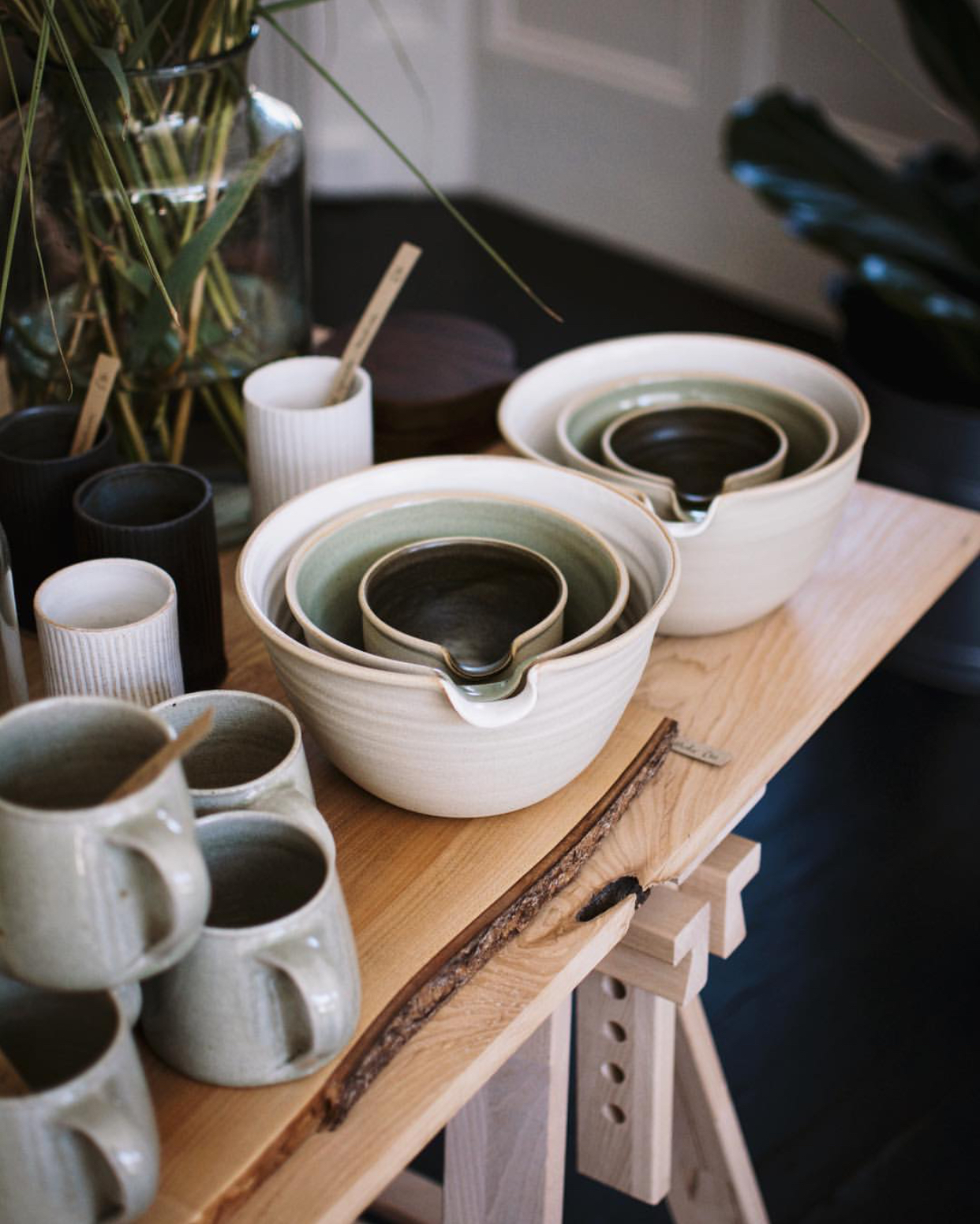 Pouring bowls for sale at Midgley Green, Clevedon. Photograph by Midgley Green.