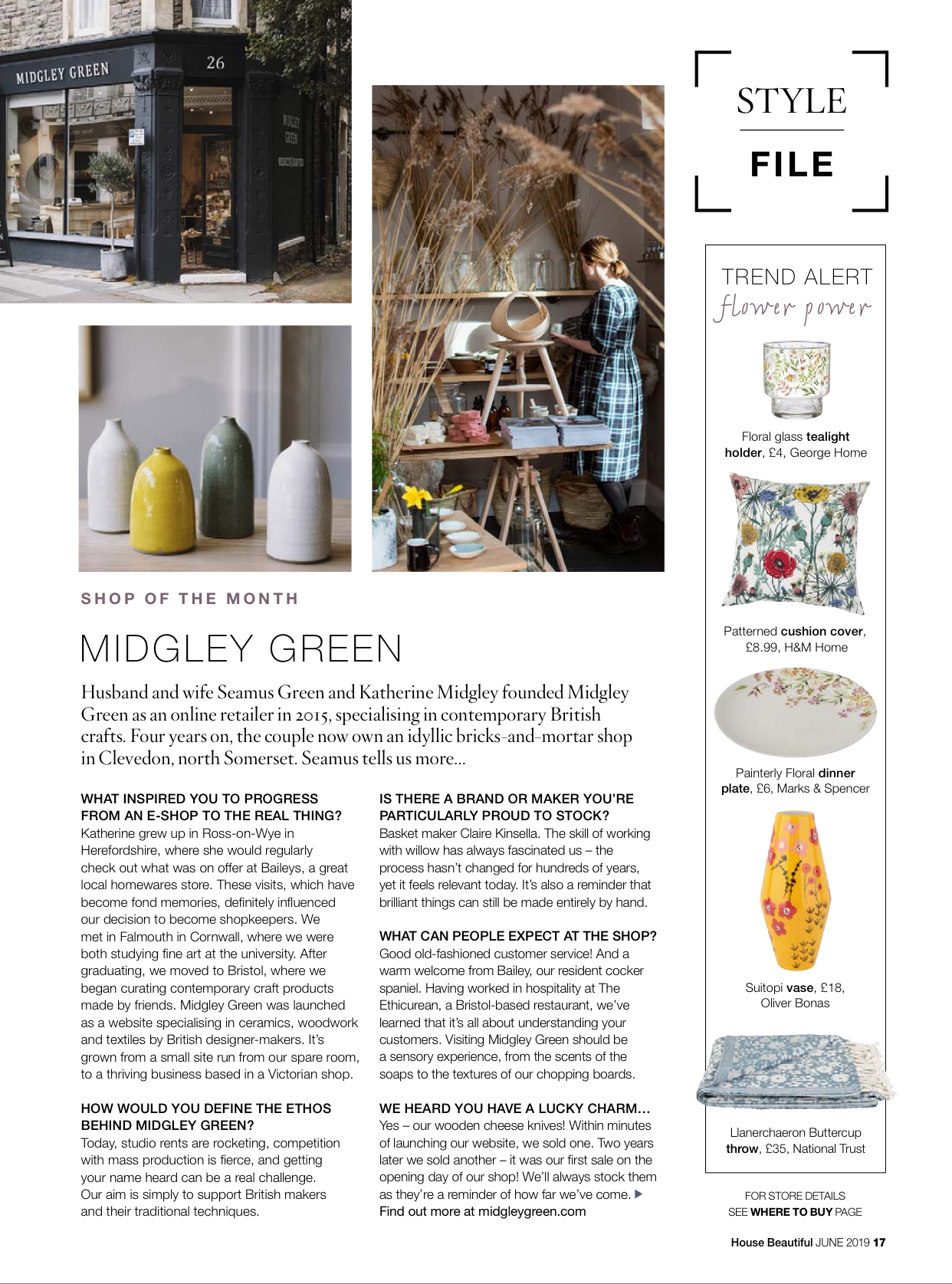 Lucy Rutter bottles at Midgley Green, House Beautiful magazine, June 2019