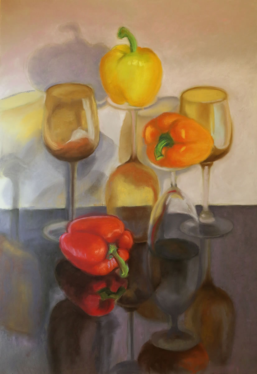 Peppers and Wine Glasses