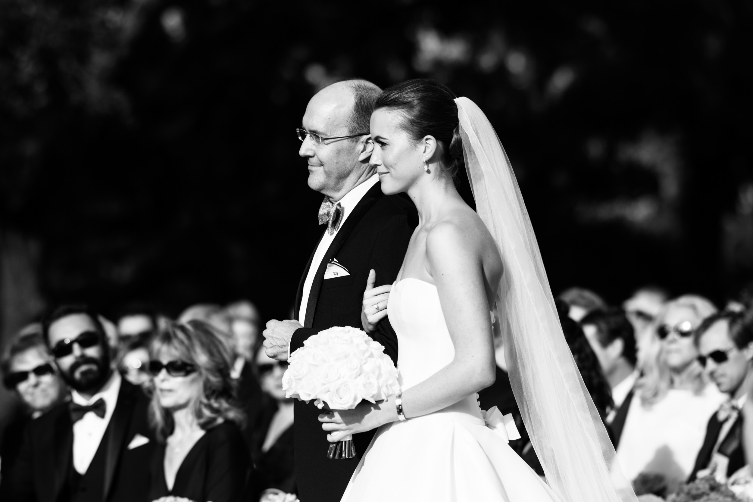 Bride and her father during her wedding ceremony at Kiawah island golf club river course.