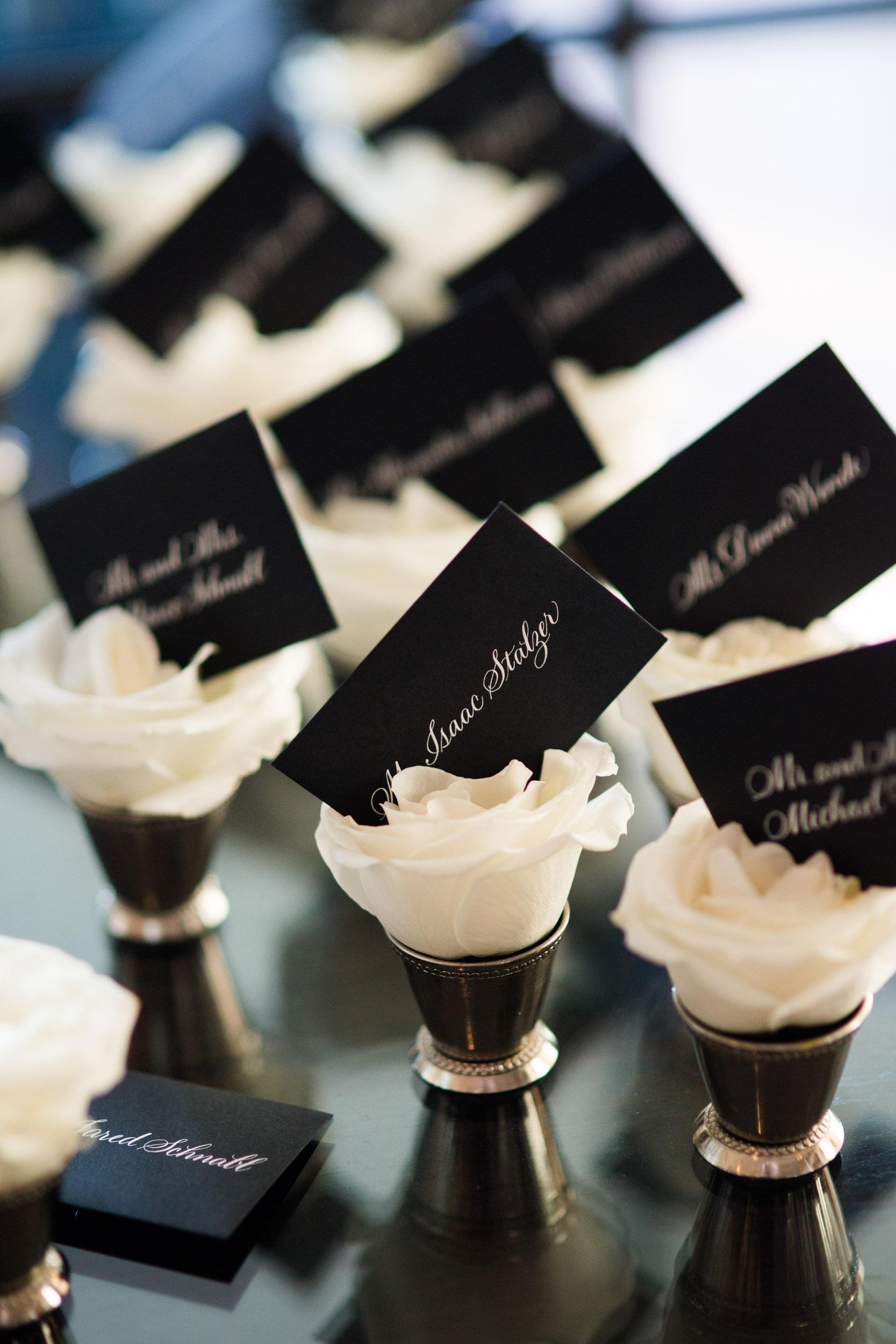 Floral wedding seating cards for South Carolina Wedding