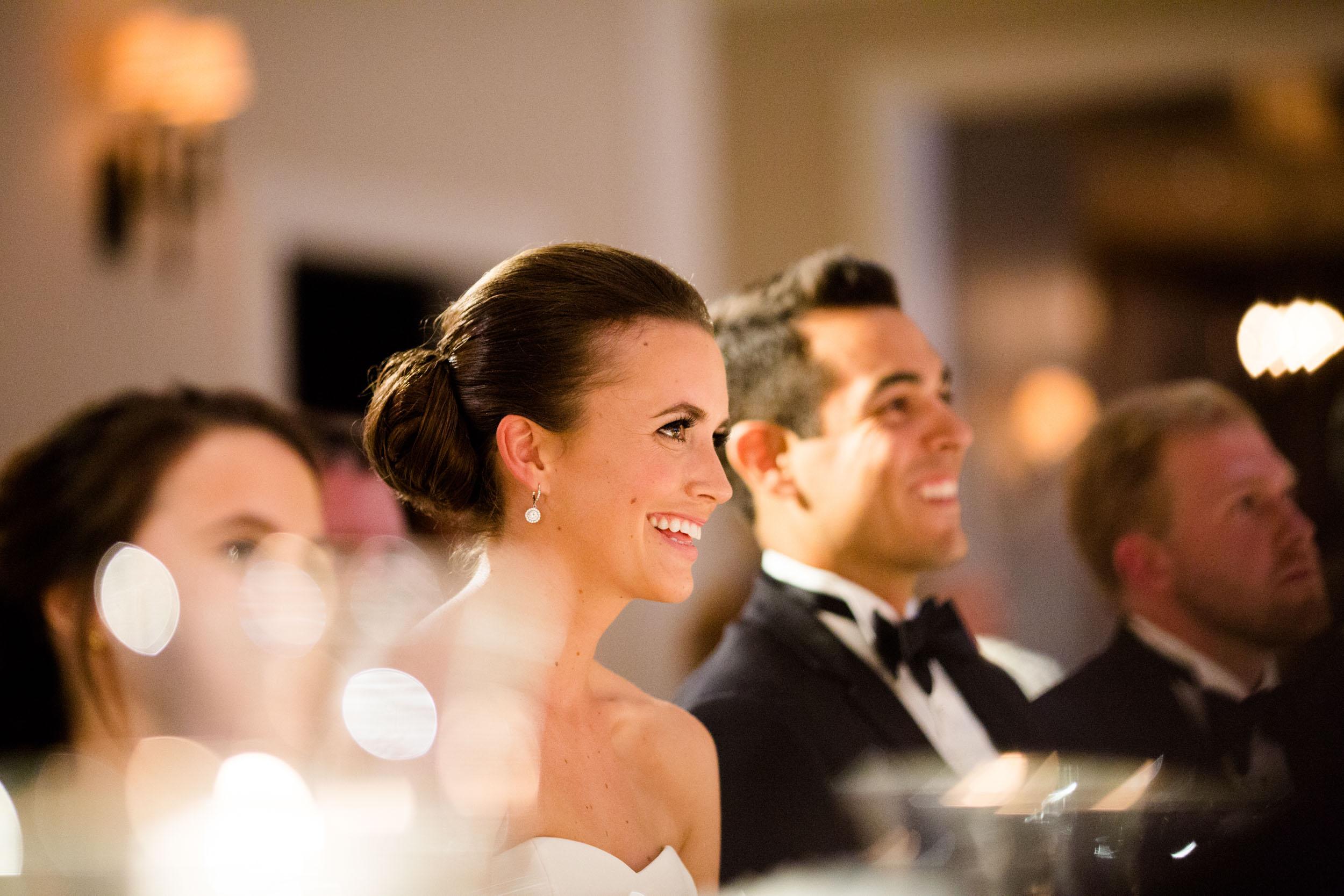 Bride and groom at wedding reception in Kiawah Island, South Carolina.