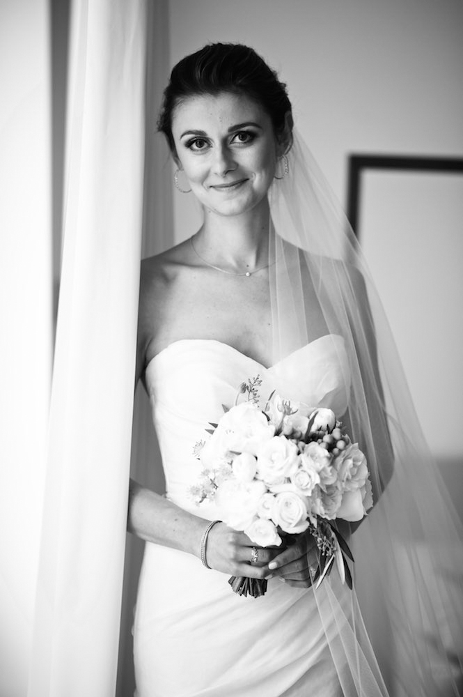 Black and white bridal portrait at Public Hotel in Chicago