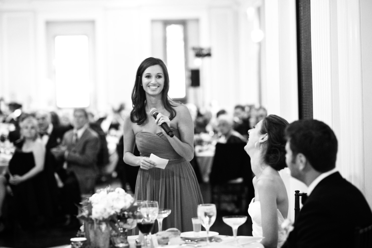 Bridesmaid gives toast at Chicago History Museum Wedding Reception