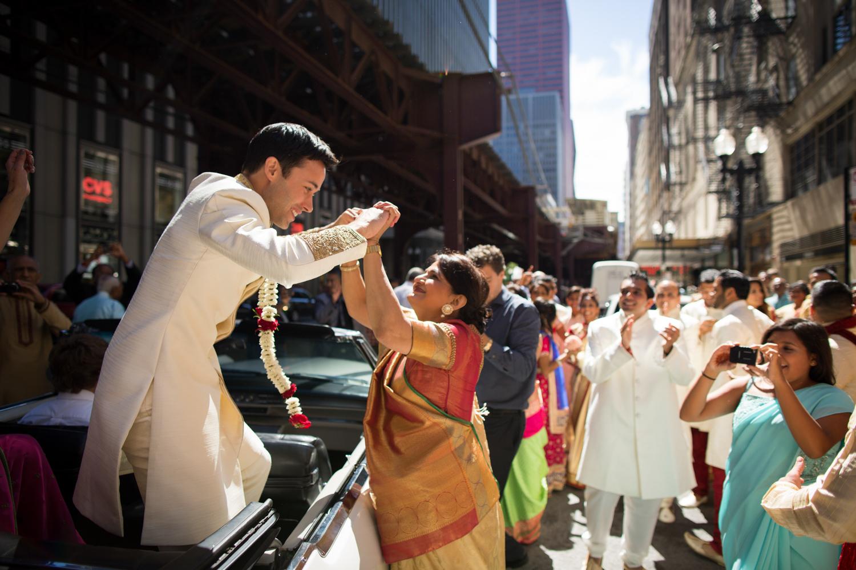 Downtown Chicago Baraat Palmer House Wedding