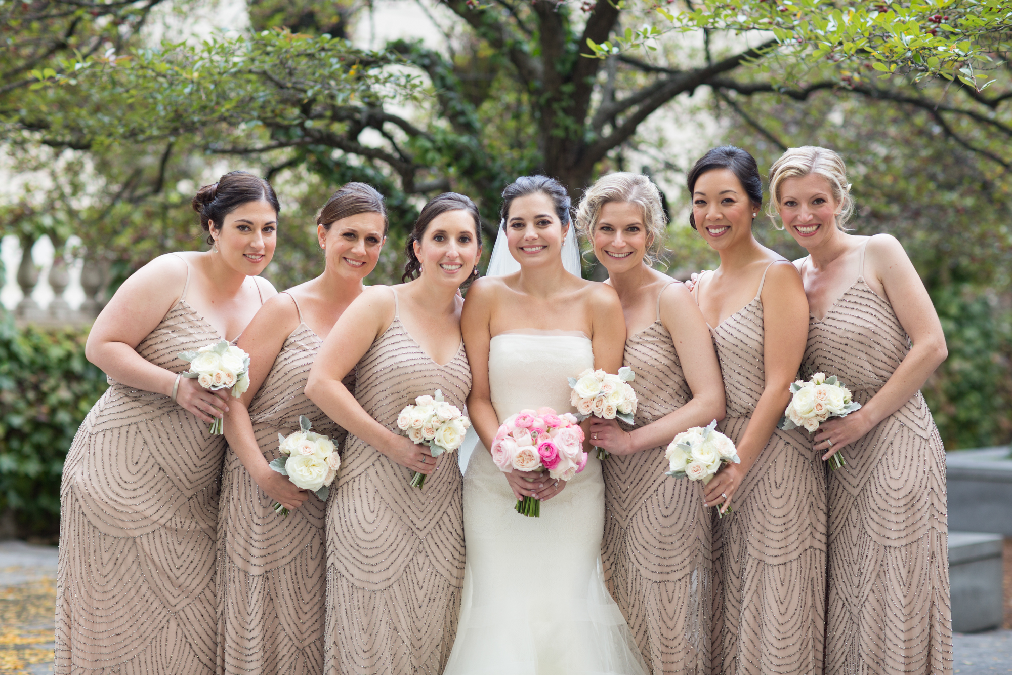 Photo of bridal party in downtown Chicago