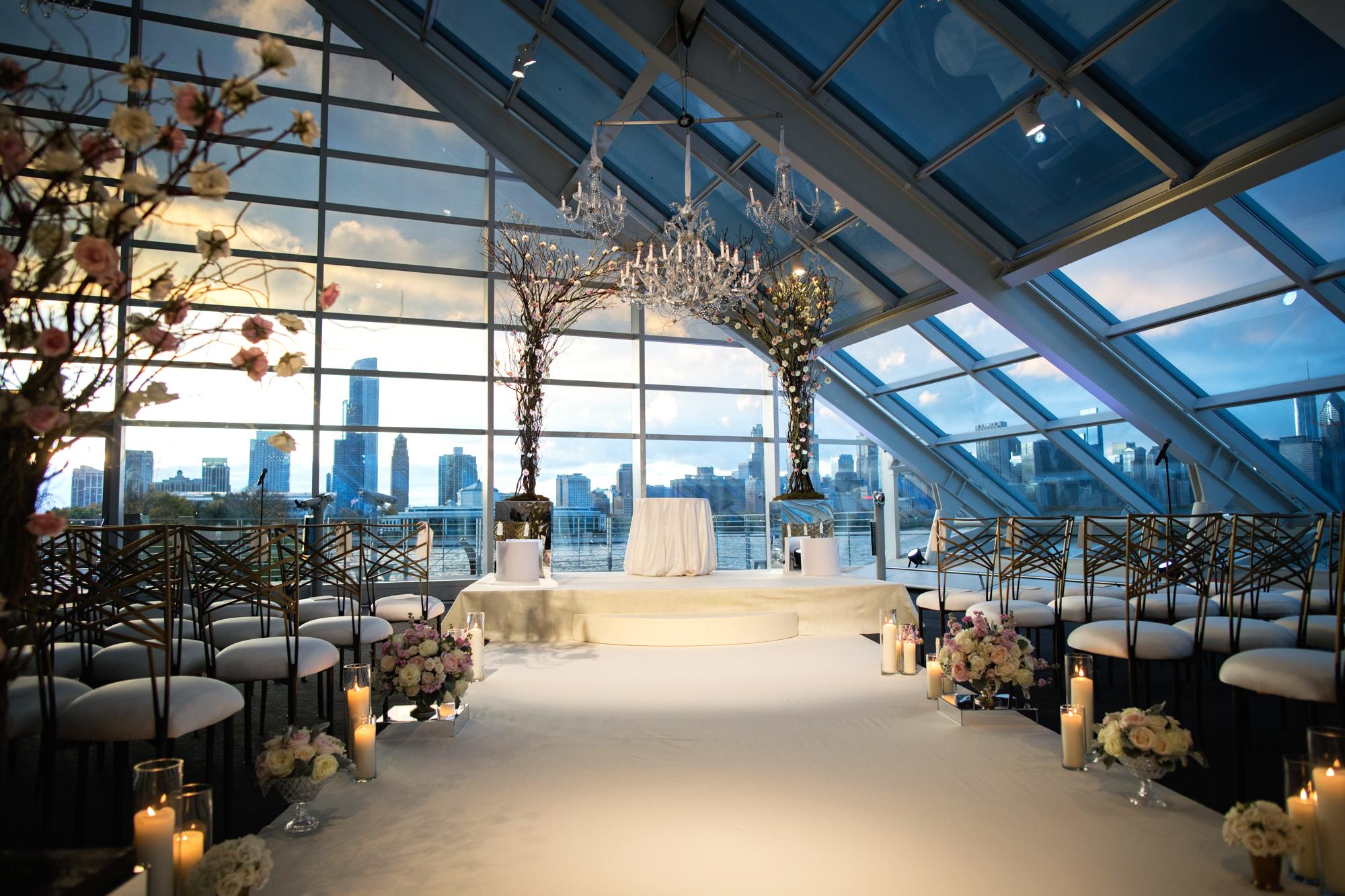 Chicago skyline sets the backdrop for an exquisite Adler Planetarium wedding ceremony.