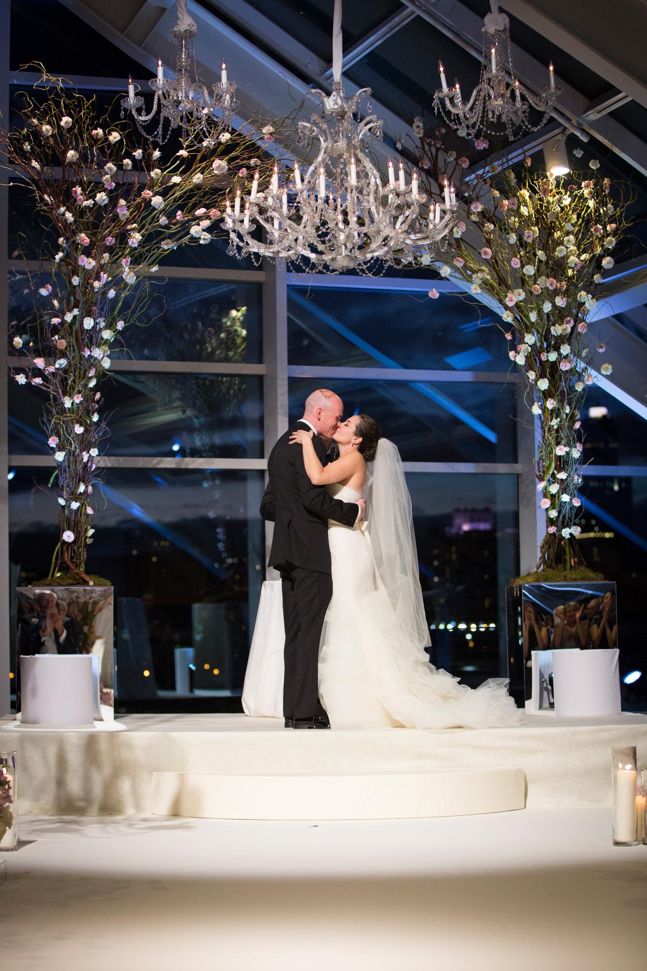 Autumn wedding ceremony in Chicago at Adler Planetarium.