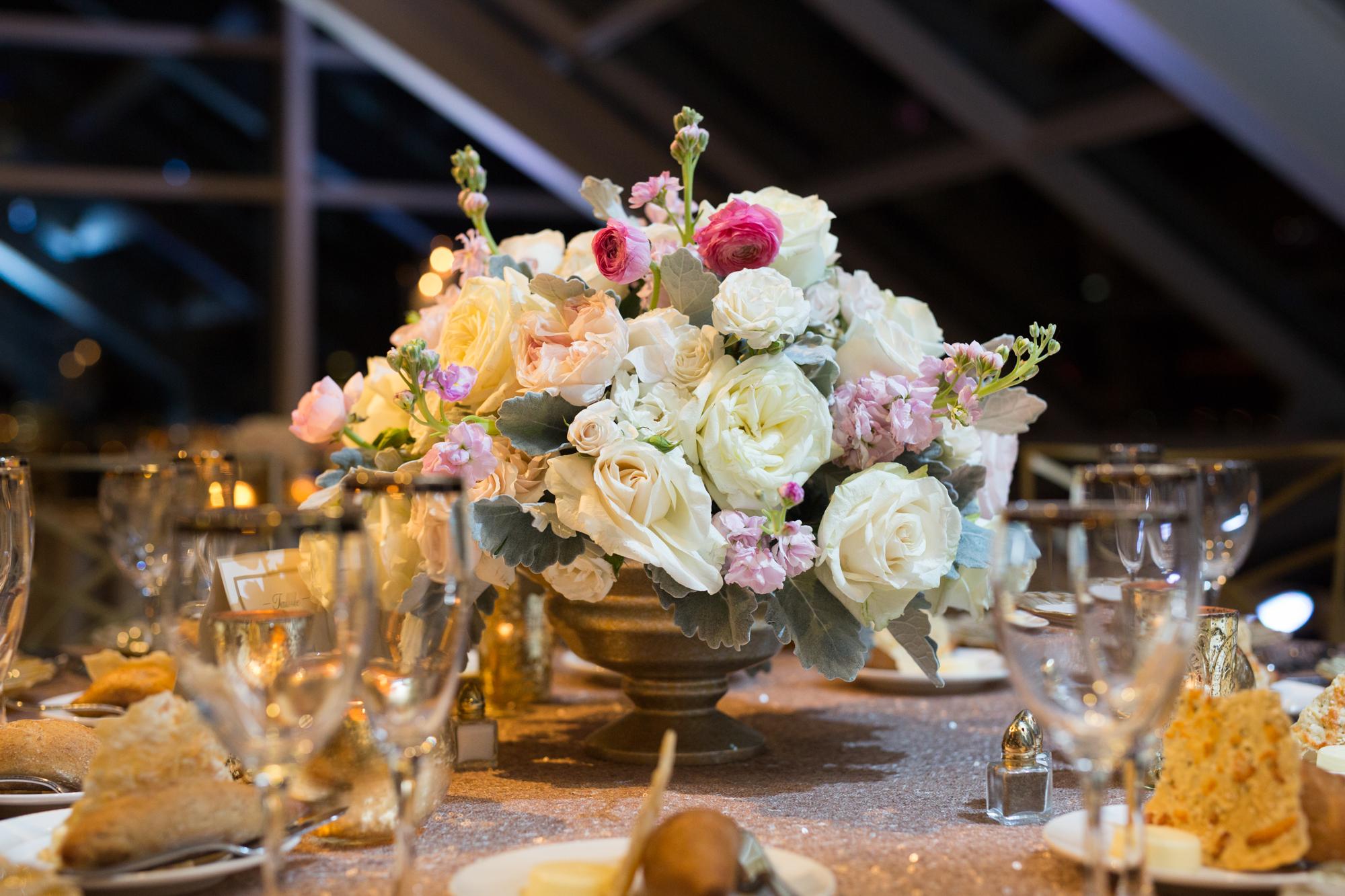 Wedding florals at Adler Planetarium by HMR Designs