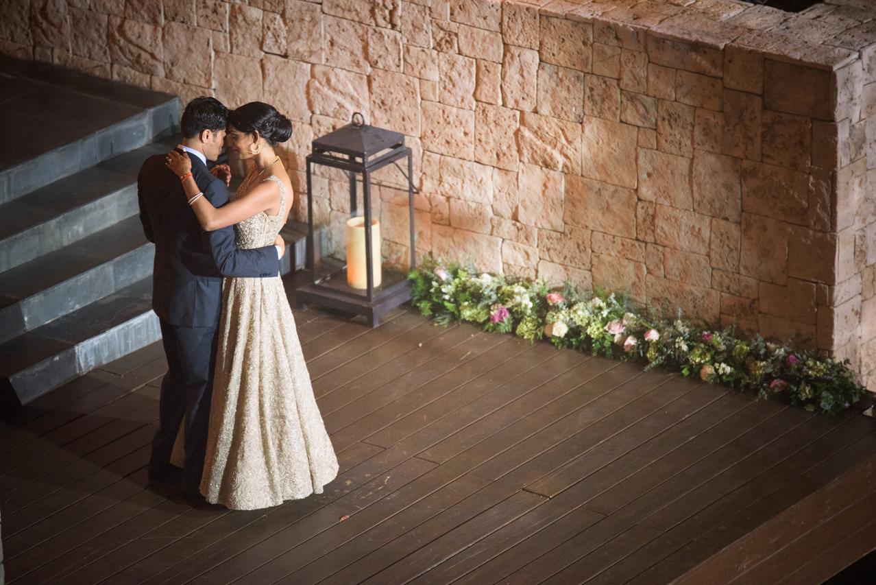 Bride and groom dance at wedding in Riviera Maya, Mexico