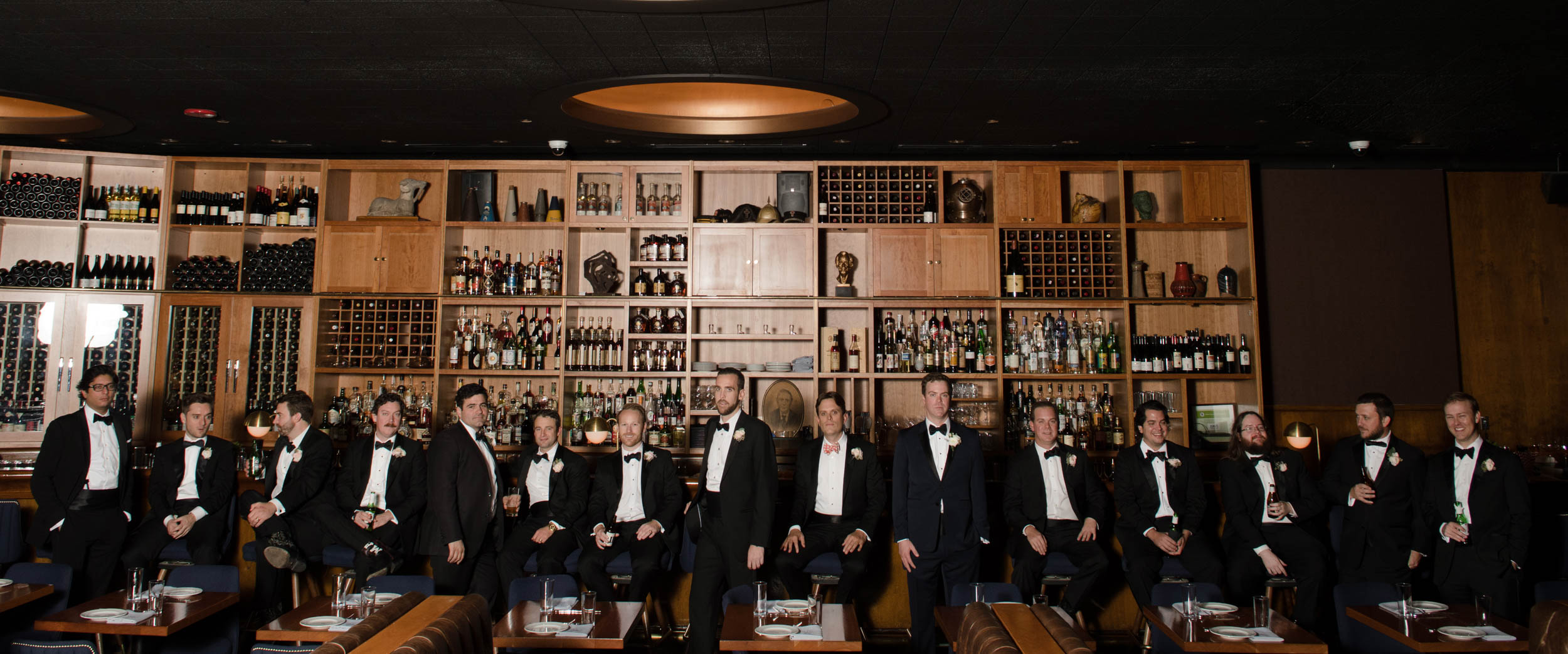 Groomsmen at Cherry Circle Room Bar in Chicago Athletic Association Hotel