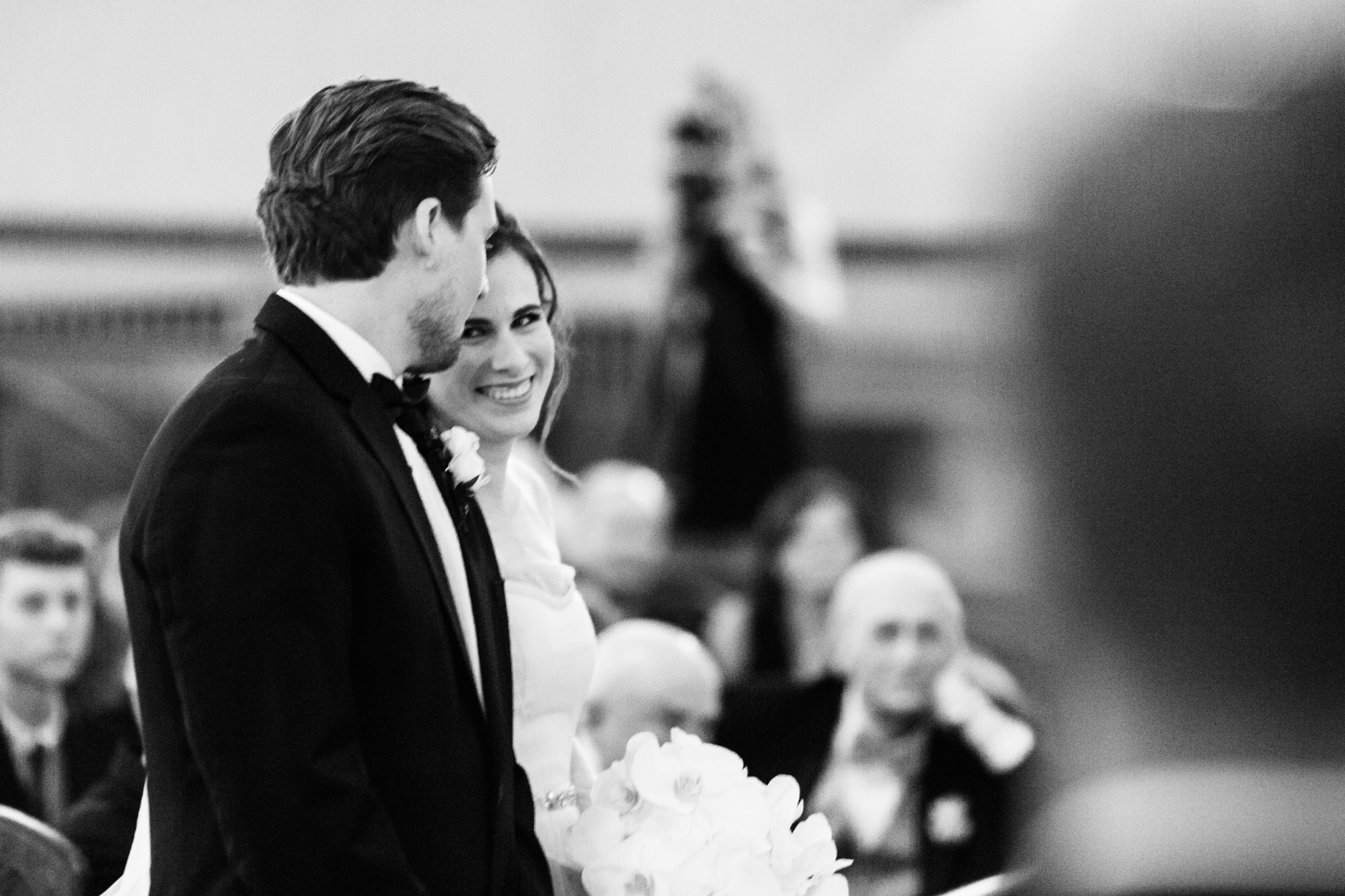 Wedding ceremony at St James Lutheran Church in downtown Chicago.