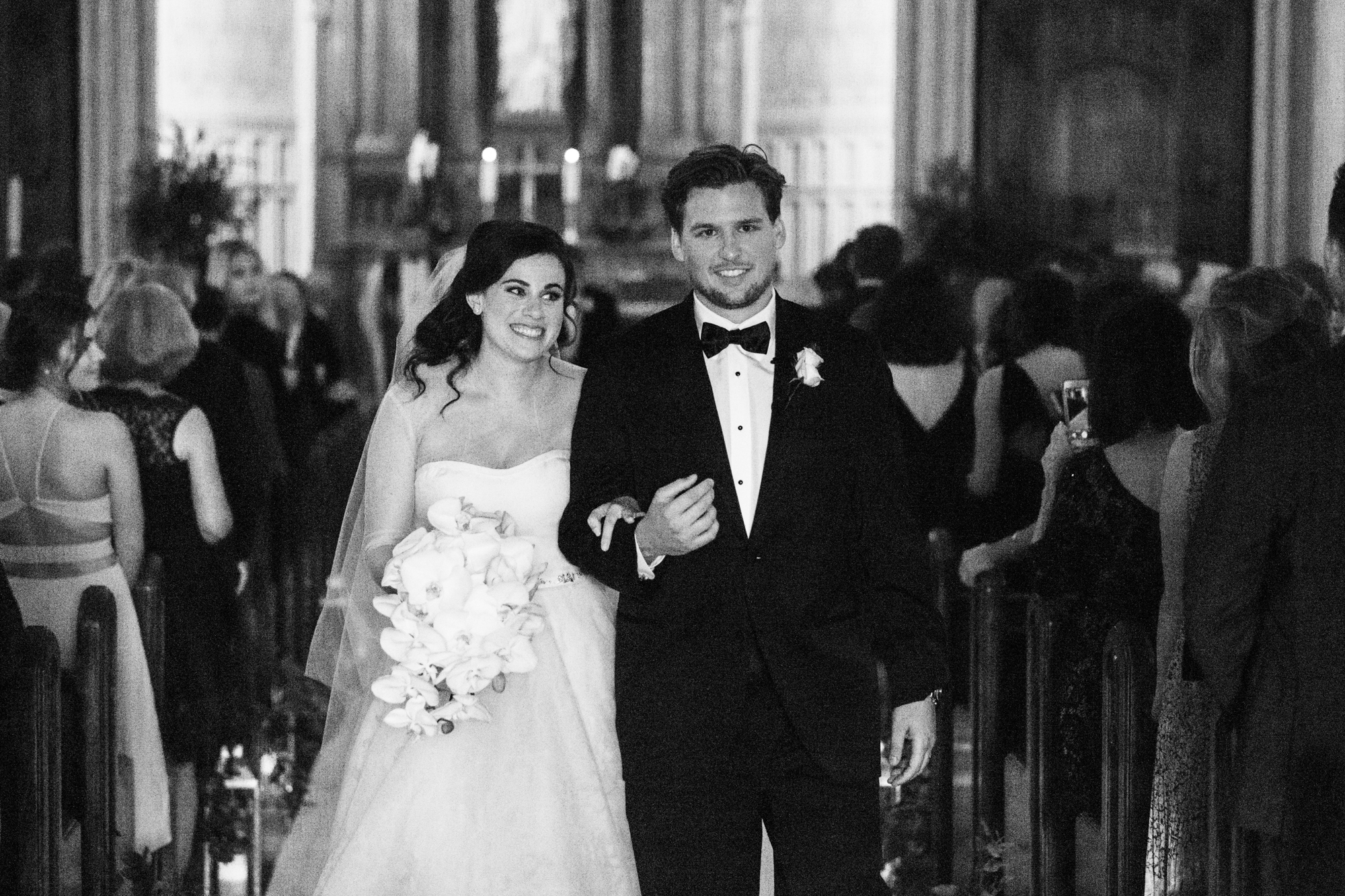 Bride and groom are married at St James Lutheran Church in Chicago