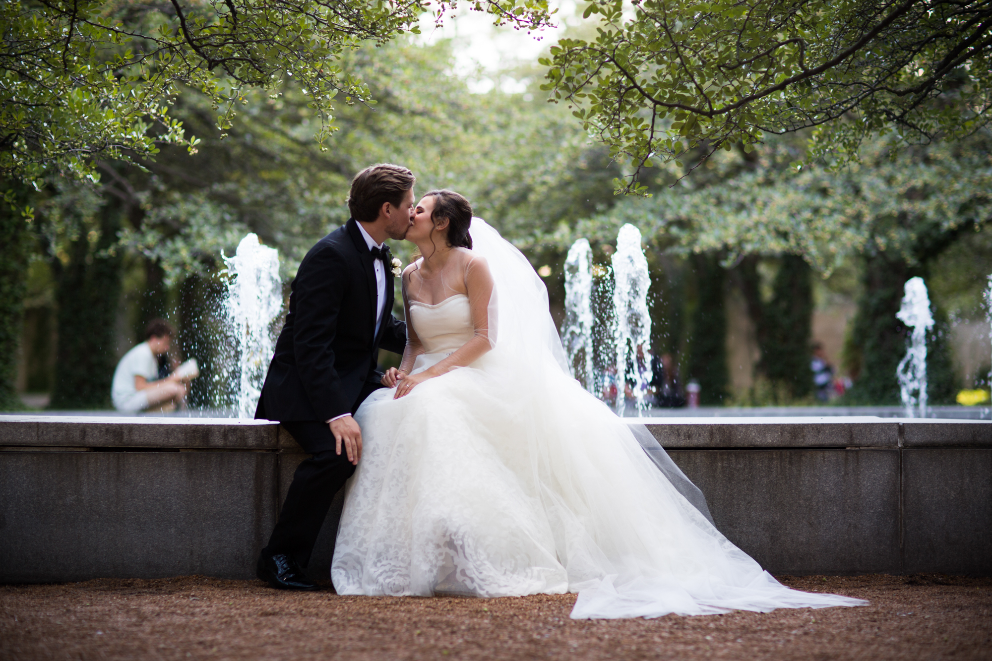 Bride and groom portrait at the Chicago Art Institute gardens.
