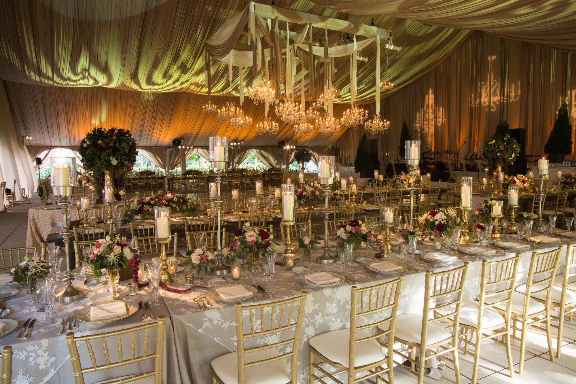 Reception Set for Millennium Park Harris Theater Rooftop Wedding in Chicago
