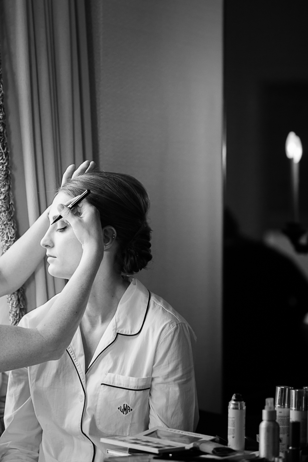 Bride getting hair & makeup done at the Drake Hotel in Chicago.