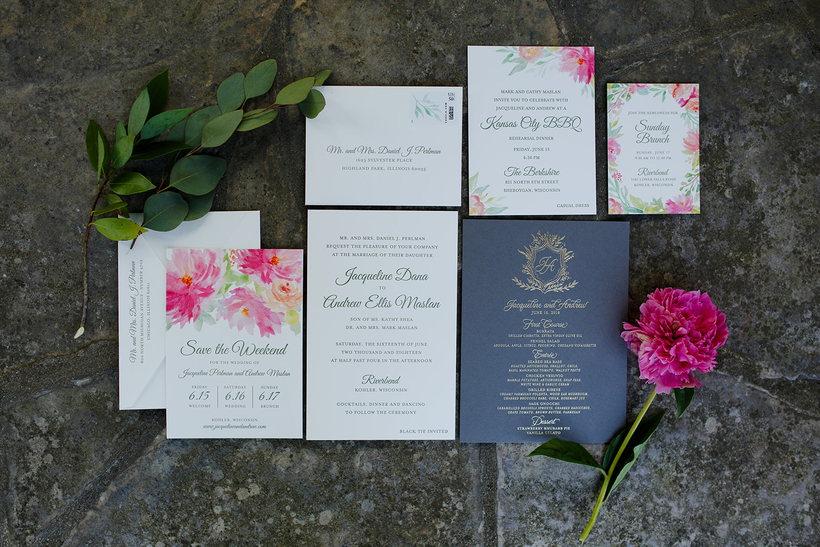 Paper and invitation suite for wedding at Riverbend Club in Kohler, Wisconsin