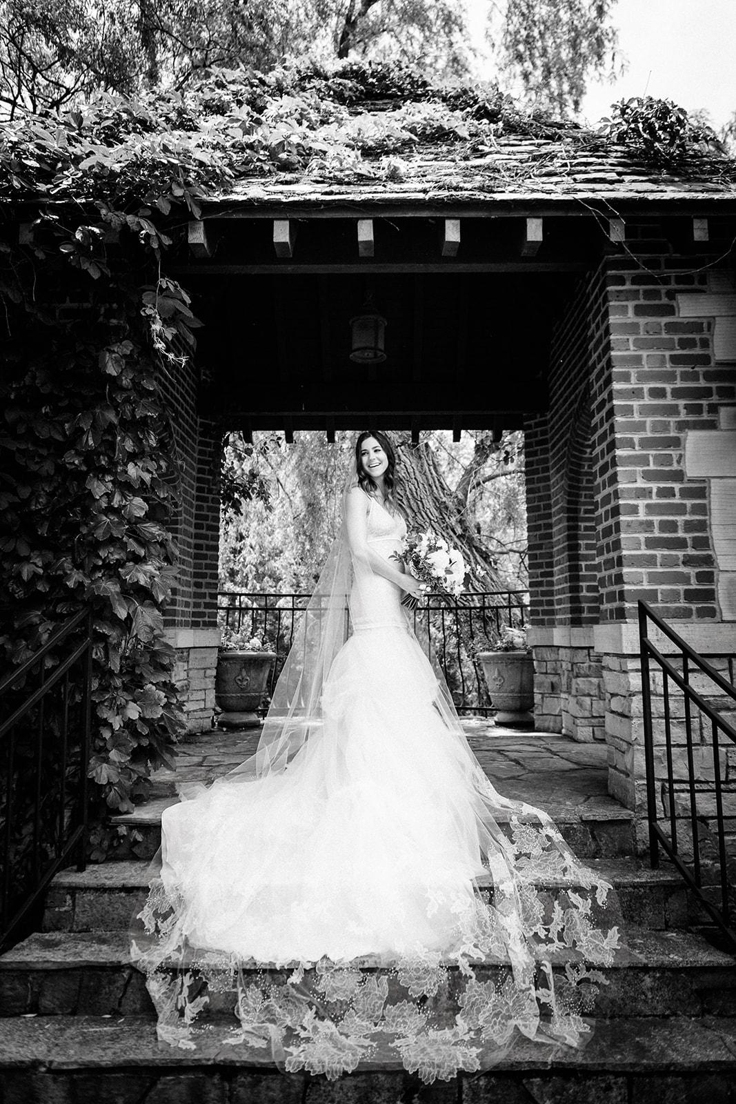 Editorial outdoor bridal portrait at Riverbend, Kohler