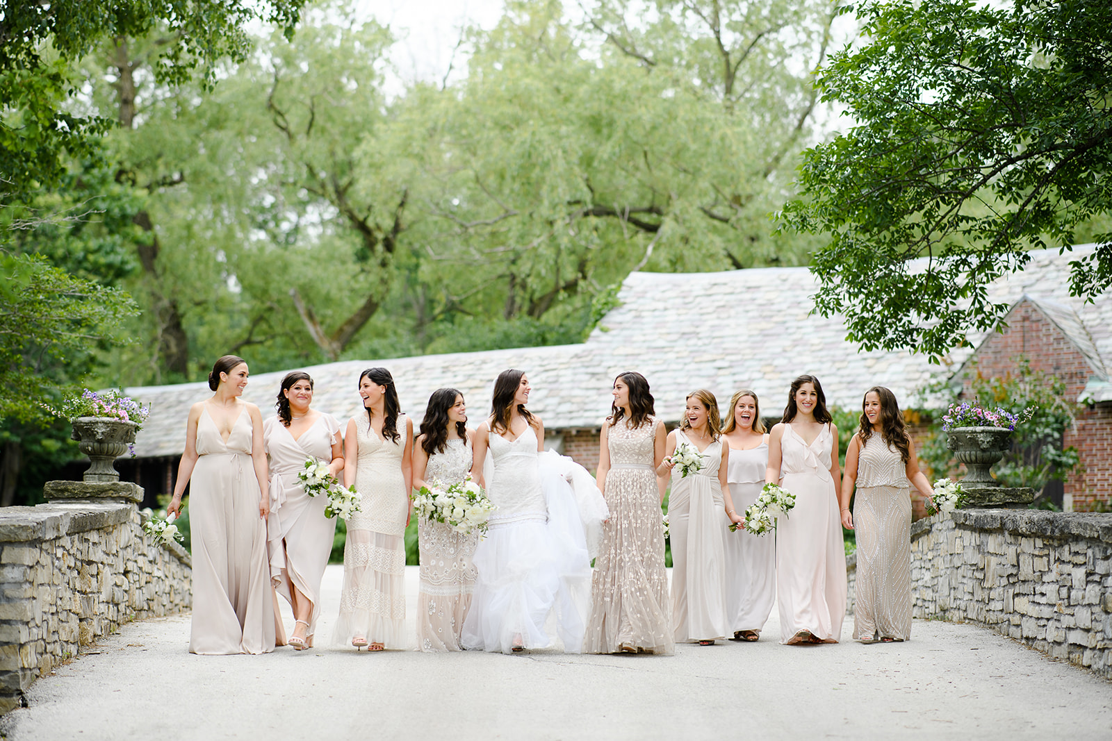 Bridesmaids in neutral mis-matched dresses - Riverbend Wisconsin