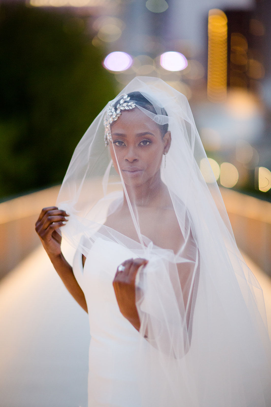 Editorial fashion portrait of an African American bride in downtown Chicago.