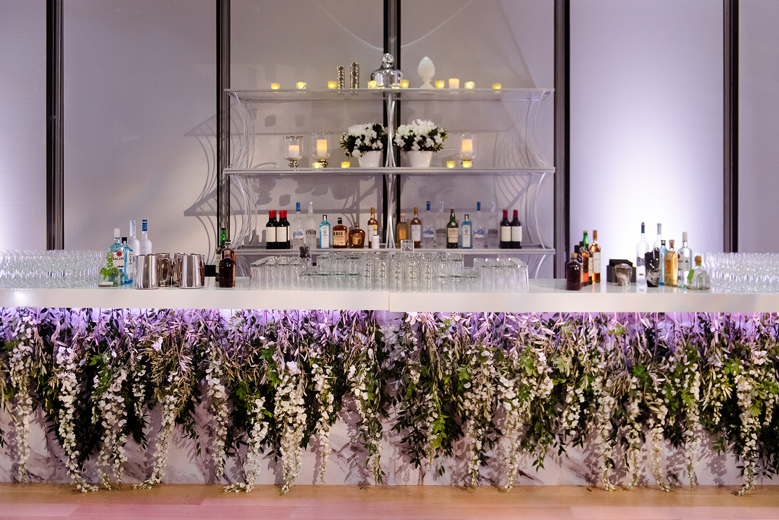 Floral white bar design for wedding in Chicago by Kehoe Designs and Renee Price. Wedding planning by Susan Cordogan of Big City Bride.