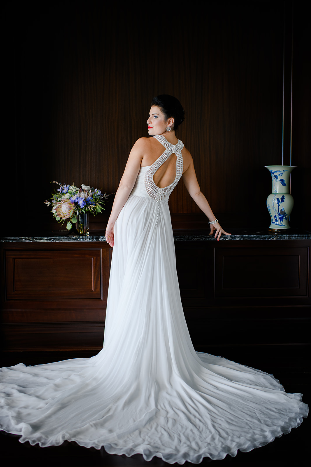 Editorial bridal portrait in home downtown Chicago