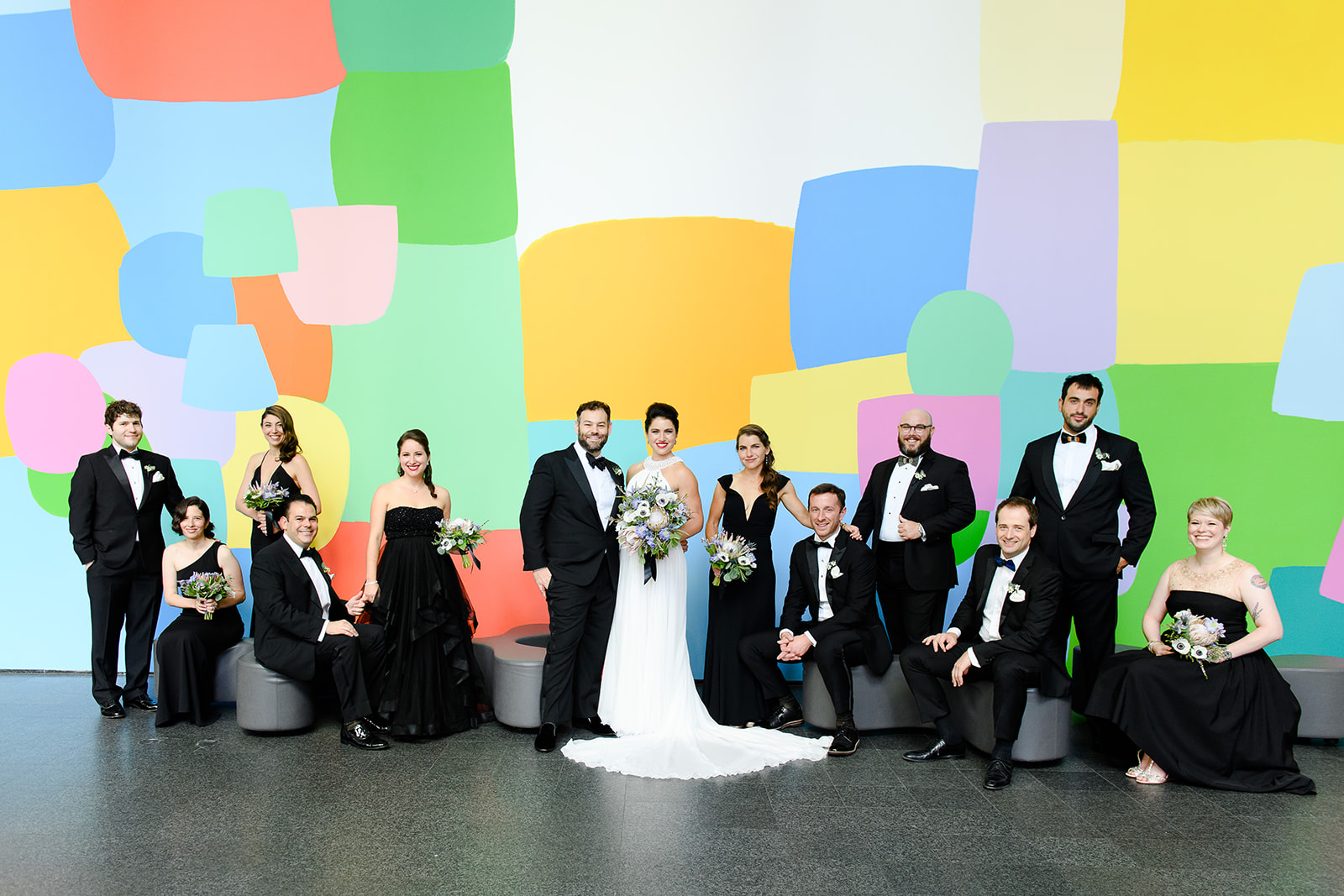 Wedding party editorial pose at the Museum of Contemporary Art Chicago
