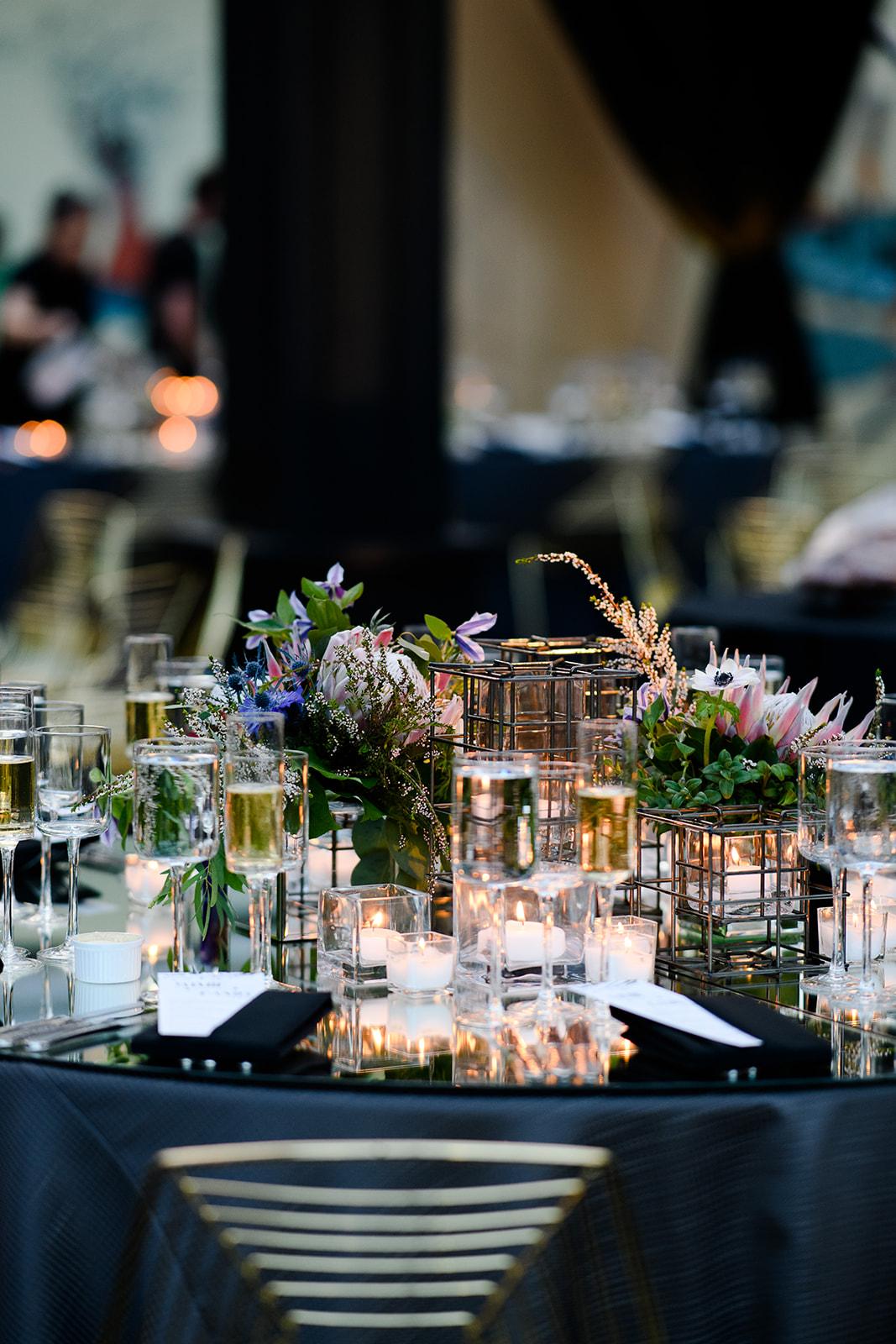 Modern protea wedding floral design in Chicago