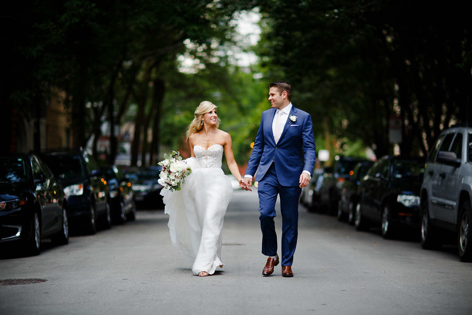 Beth told us she loves the brownstones in the Gold Coast neighborhood and wanted relaxed pictures of the two of them strolling down the street.