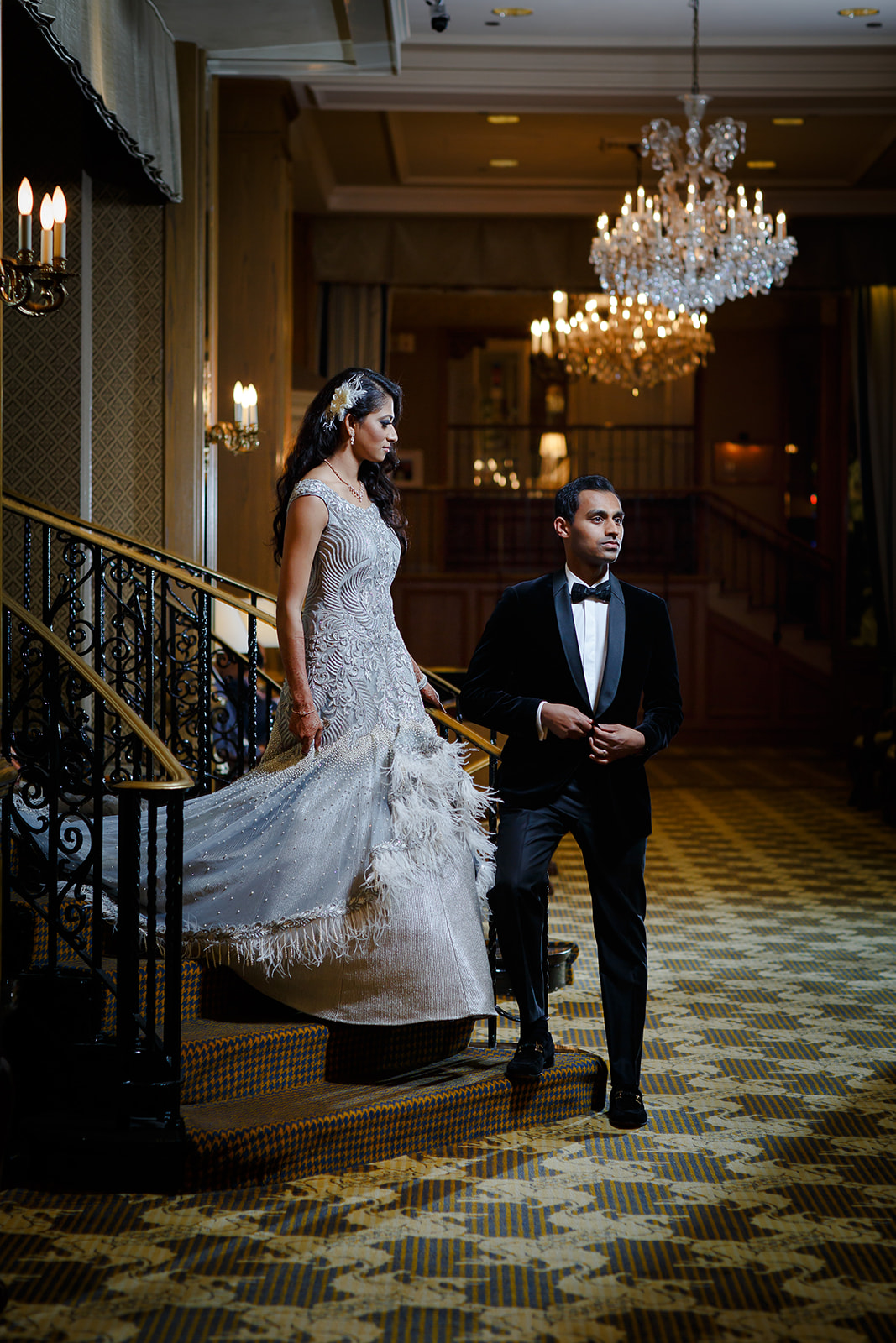 The couple dressed to the nines for the dinner reception. We had a chance to do some Vanity Fair style portraits with the two of them before dinner inside the Drake, making use of the ornate details of the hotel's design like the staircases and chandeliers.
