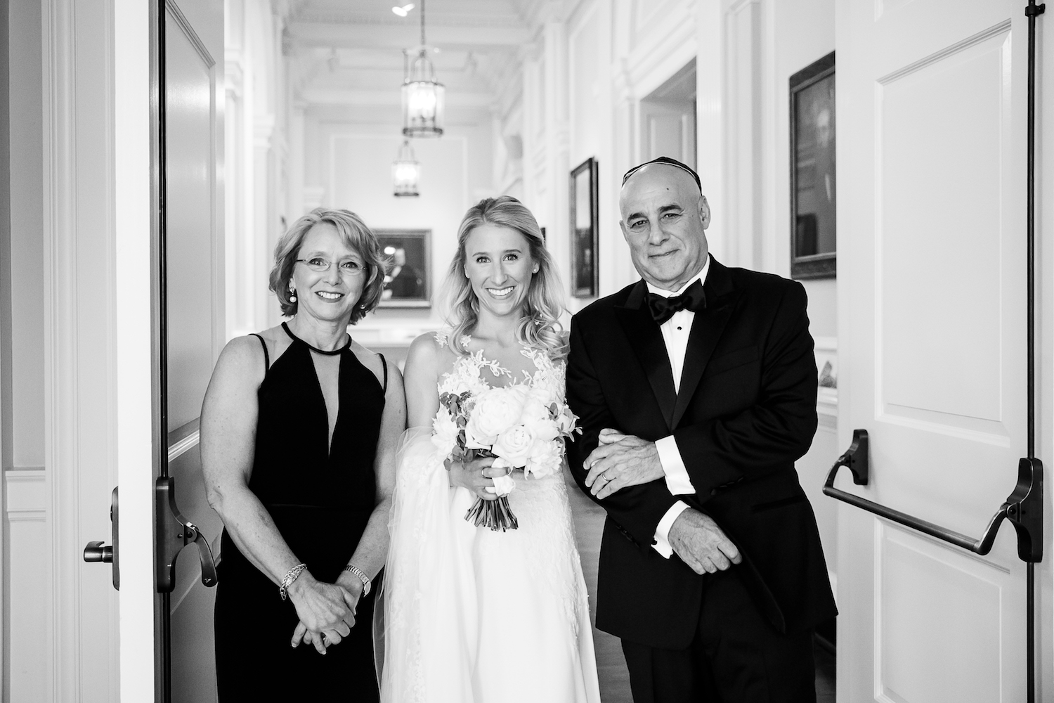 Bride and her parents before outdoor ceremony at the Chicago History Museum.