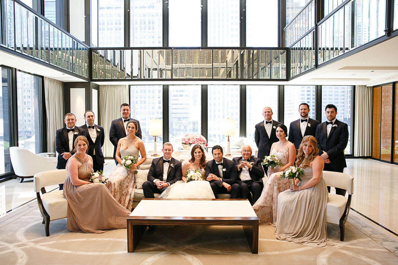 Vanity  Vanity Fair style wedding party photo in the second floor lobby of Chicago's Langham Hotel.