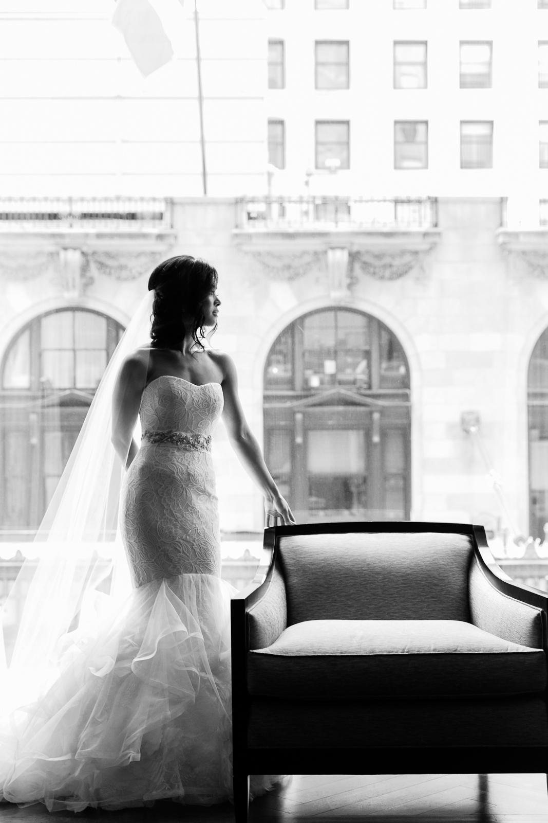 Editorial bridal portraits at the Peninsula Chicago.