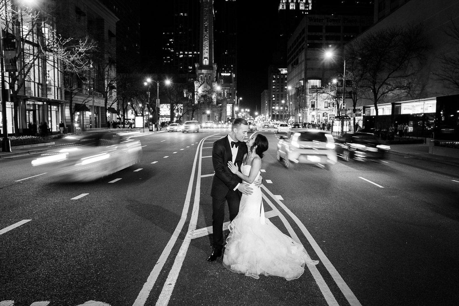 Chad Husar specializes in dynamic and exciting night portraits in downtown Chicago utilizing long exposures and motion.