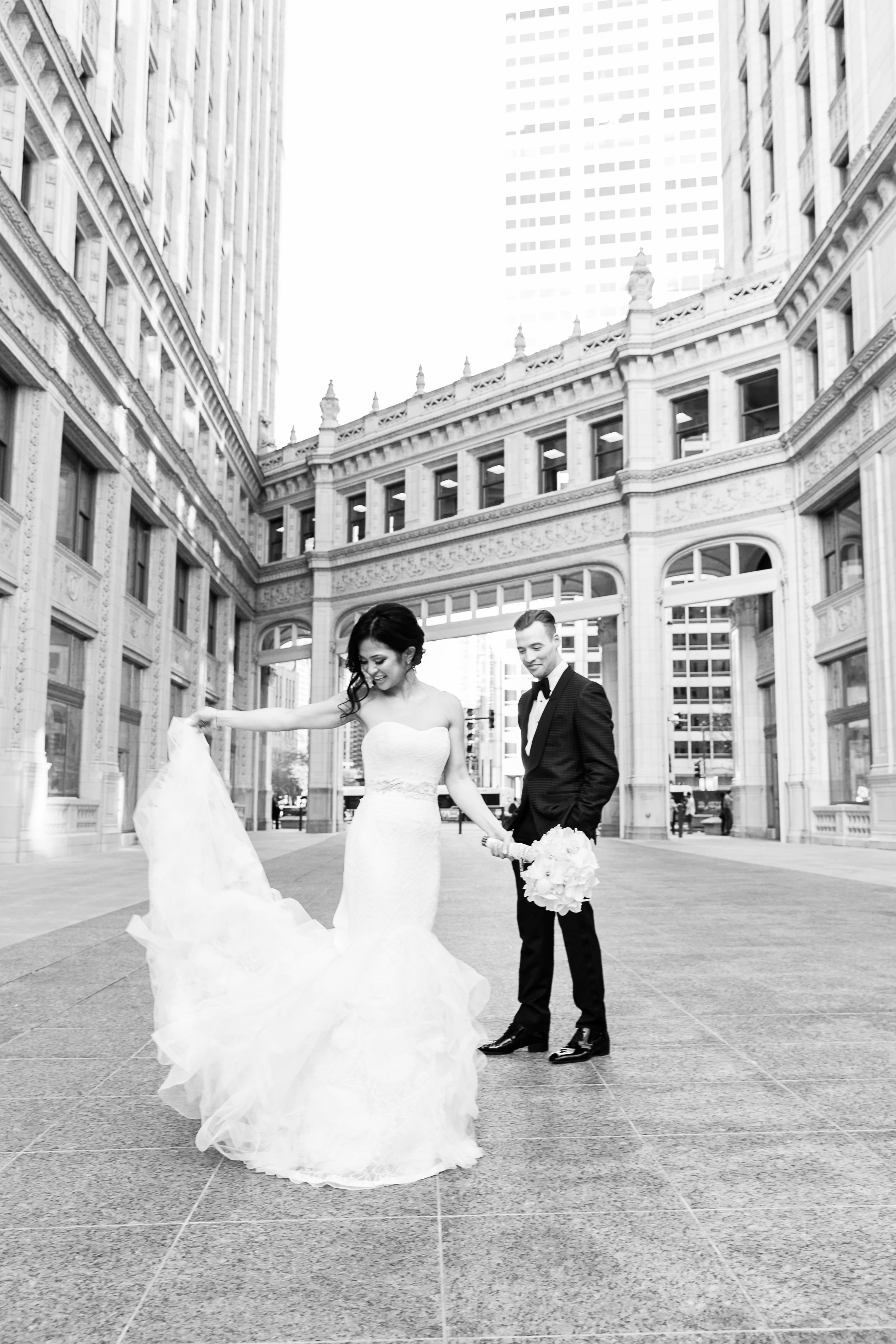 Editorial wedding photos at the Wrigley Building in Chicago.