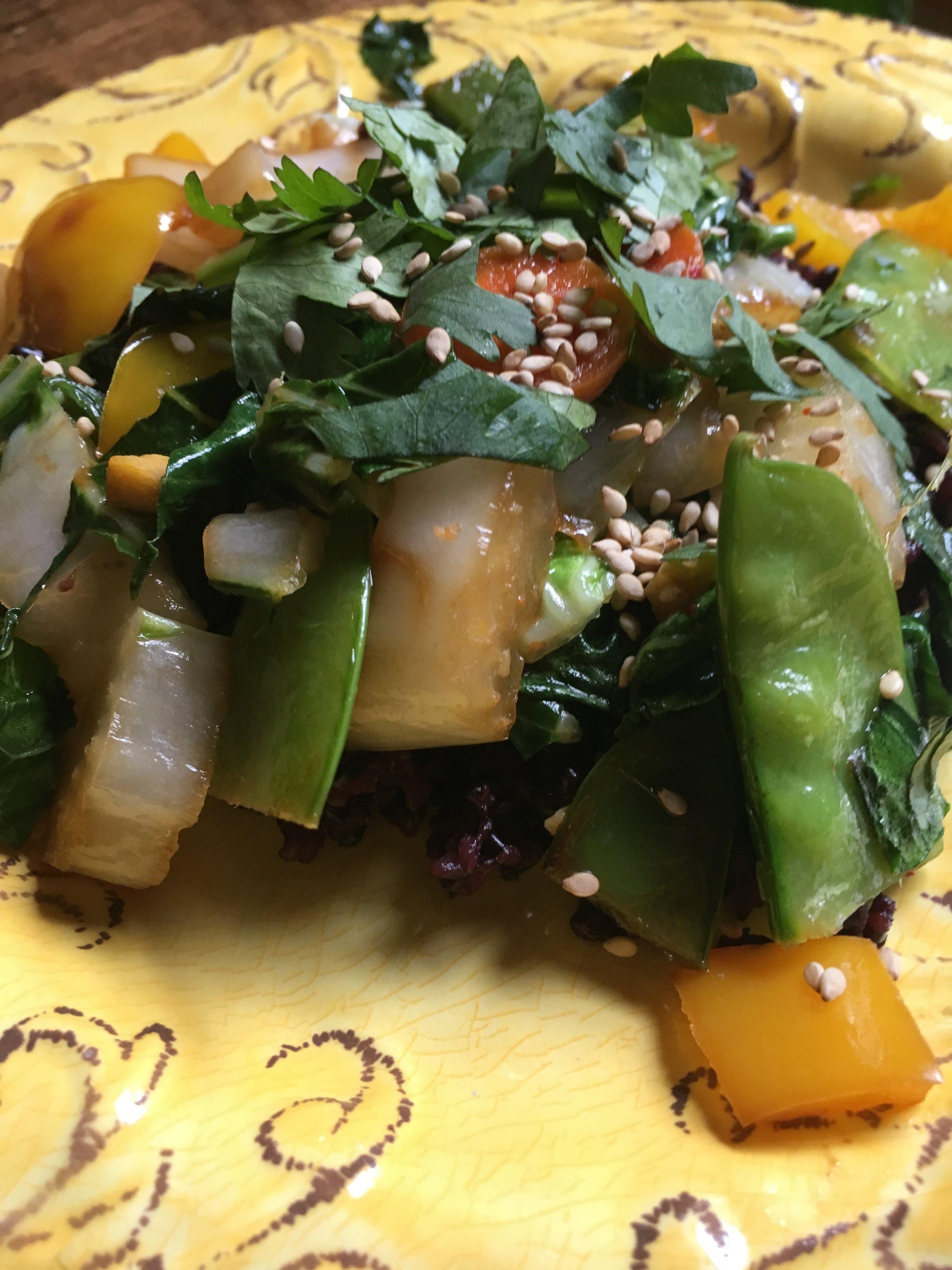 Vegetable Stir-Fry with Frobidden Rice.JPG