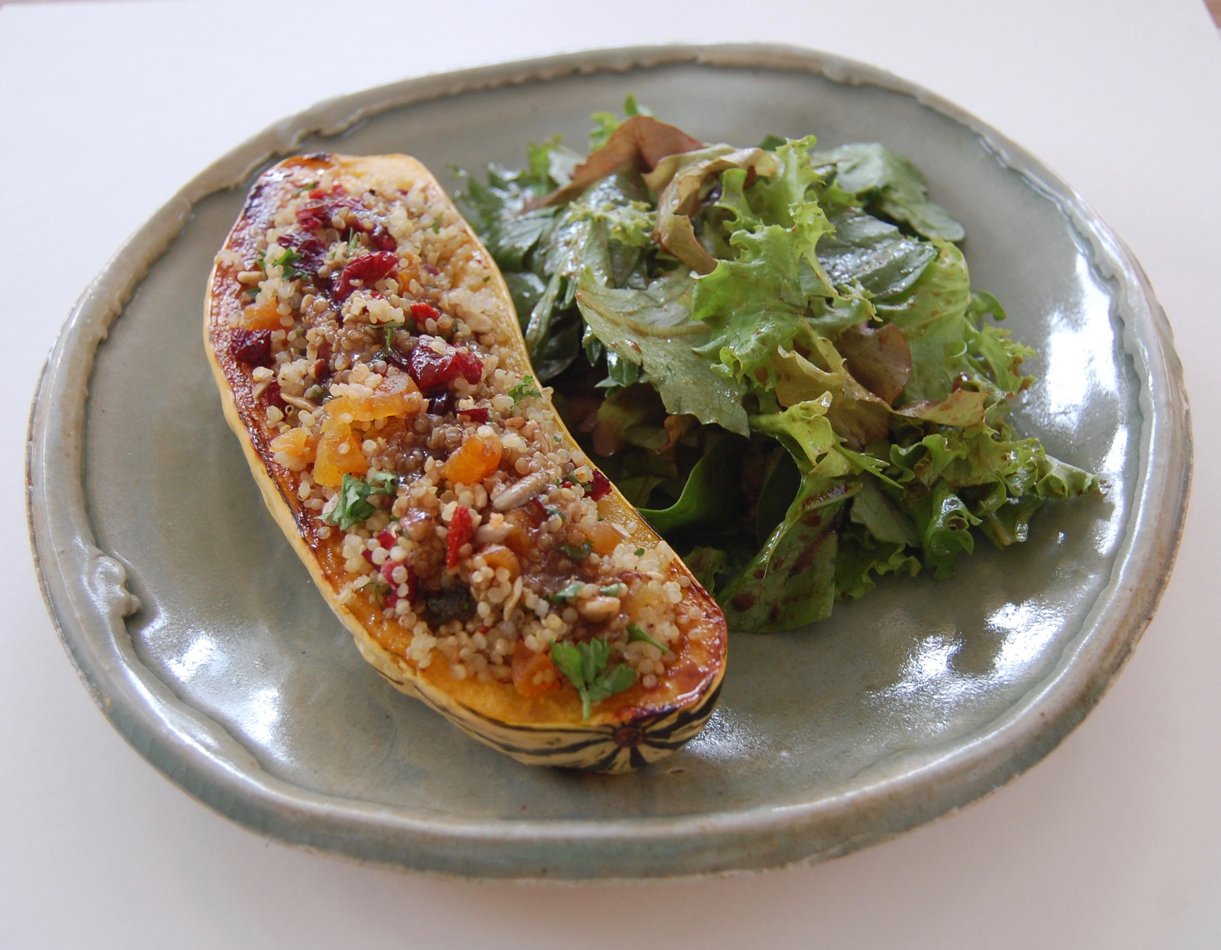 Fuited Quinoa with Delicata Squash and mixed greens.jpg