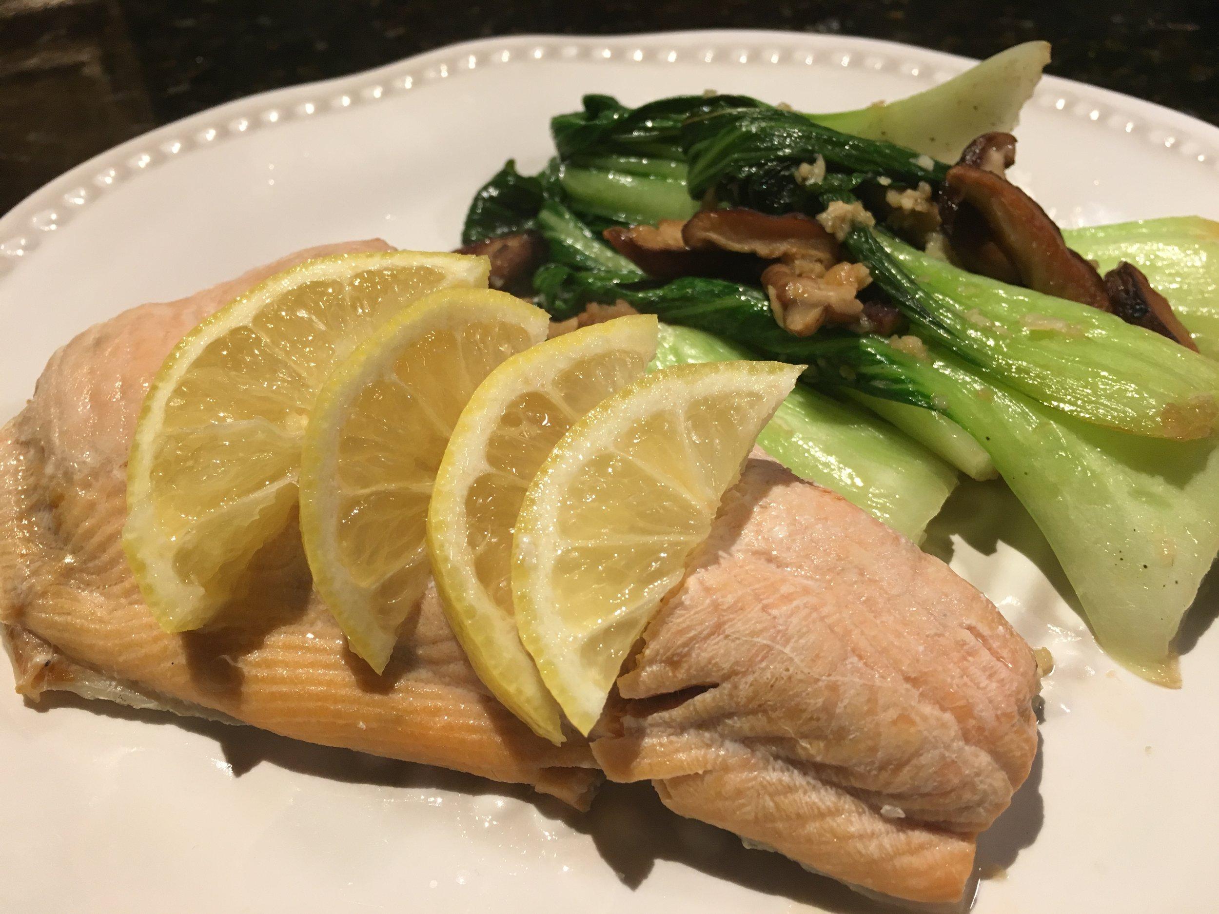 Poached Salmon w Baby Bok Choy & Shitake Mushrooms.JPG