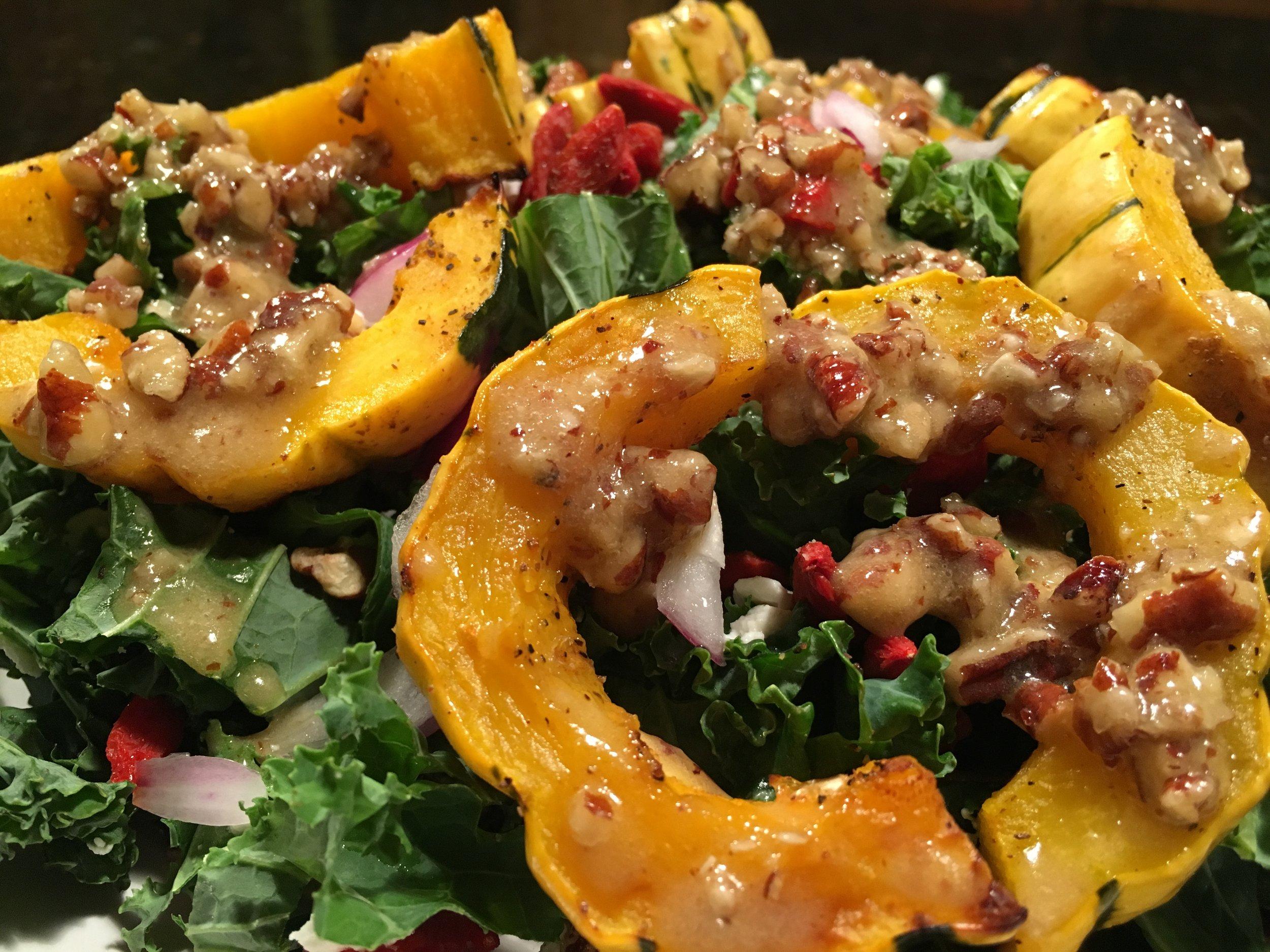 Lacinato Kale & Roasted Squash w Pecan Dressing.JPG